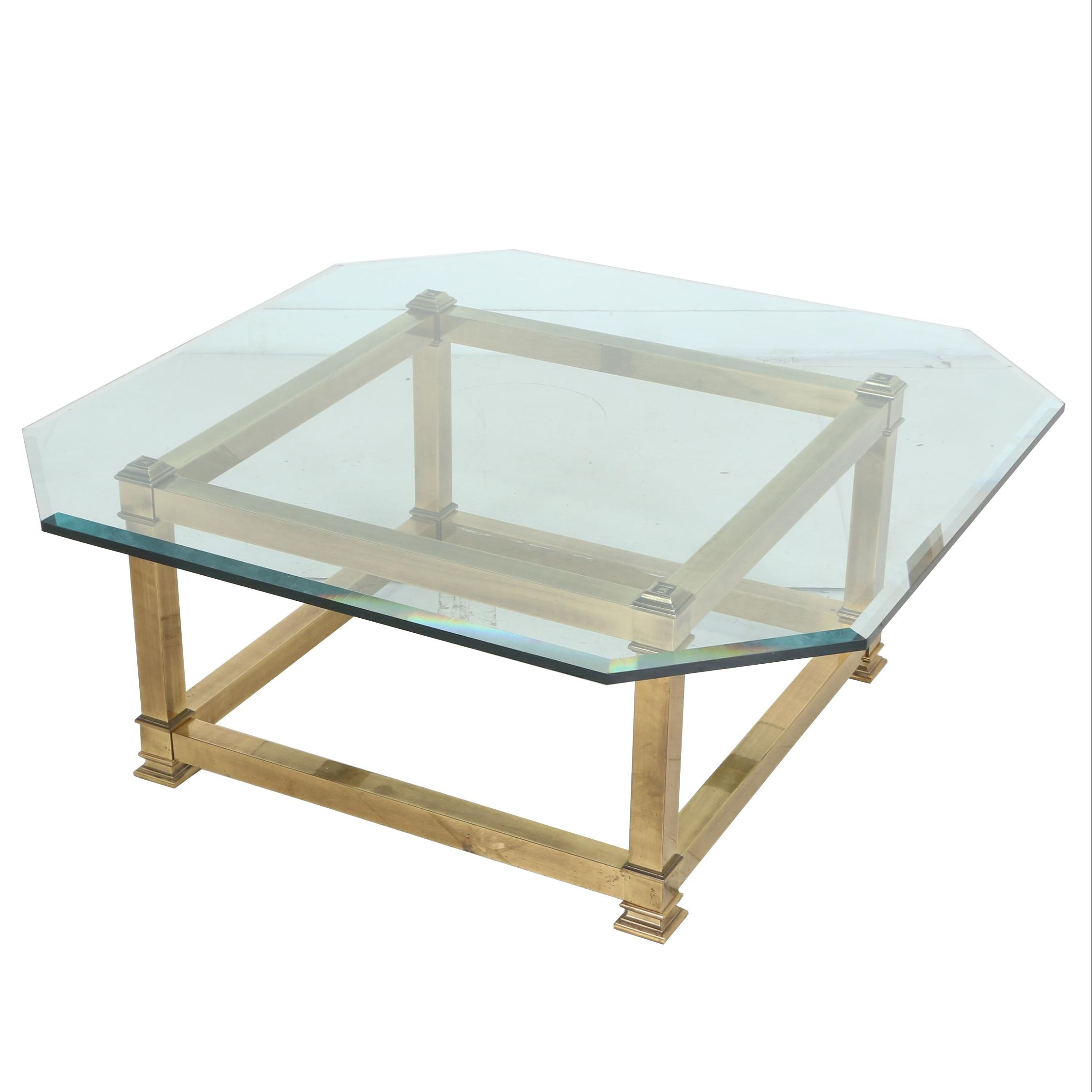 Brass and Glass Coffee Table, Manner of La Barge, Late 20th Century