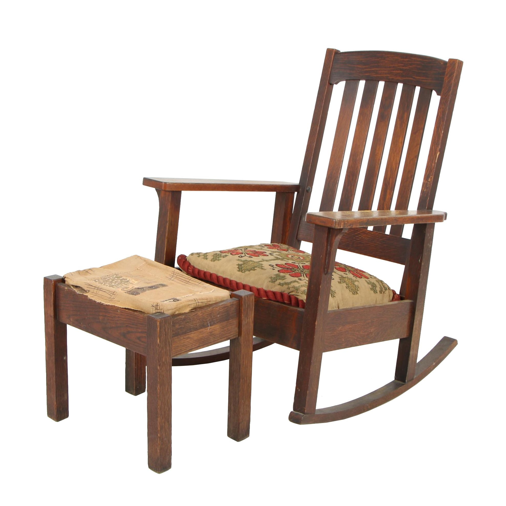 Stickley Bros Co. Arts and Crafts Style Rocking Chair and Stool