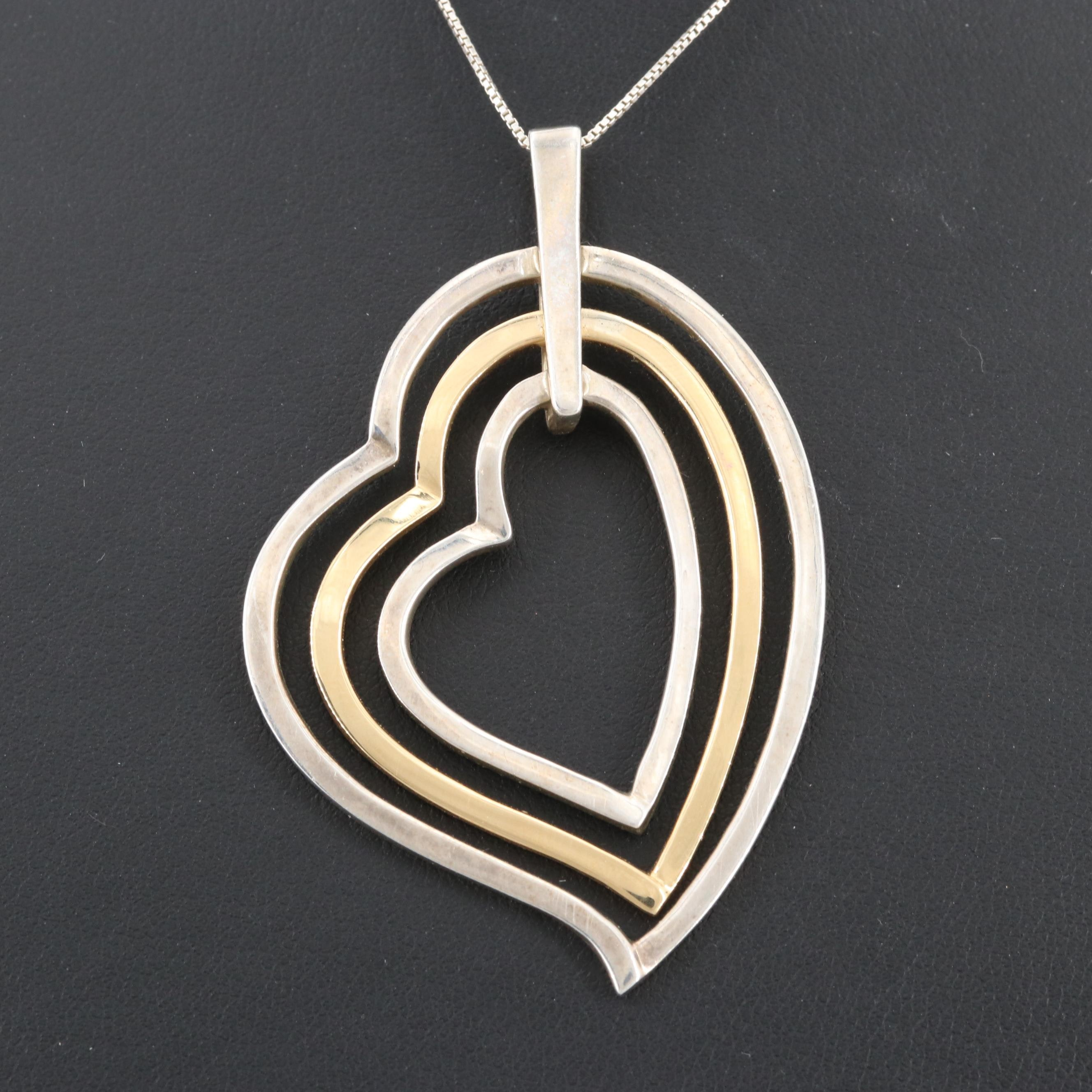 Sterling Silver Heart Necklace with 18K Yellow Gold Accents