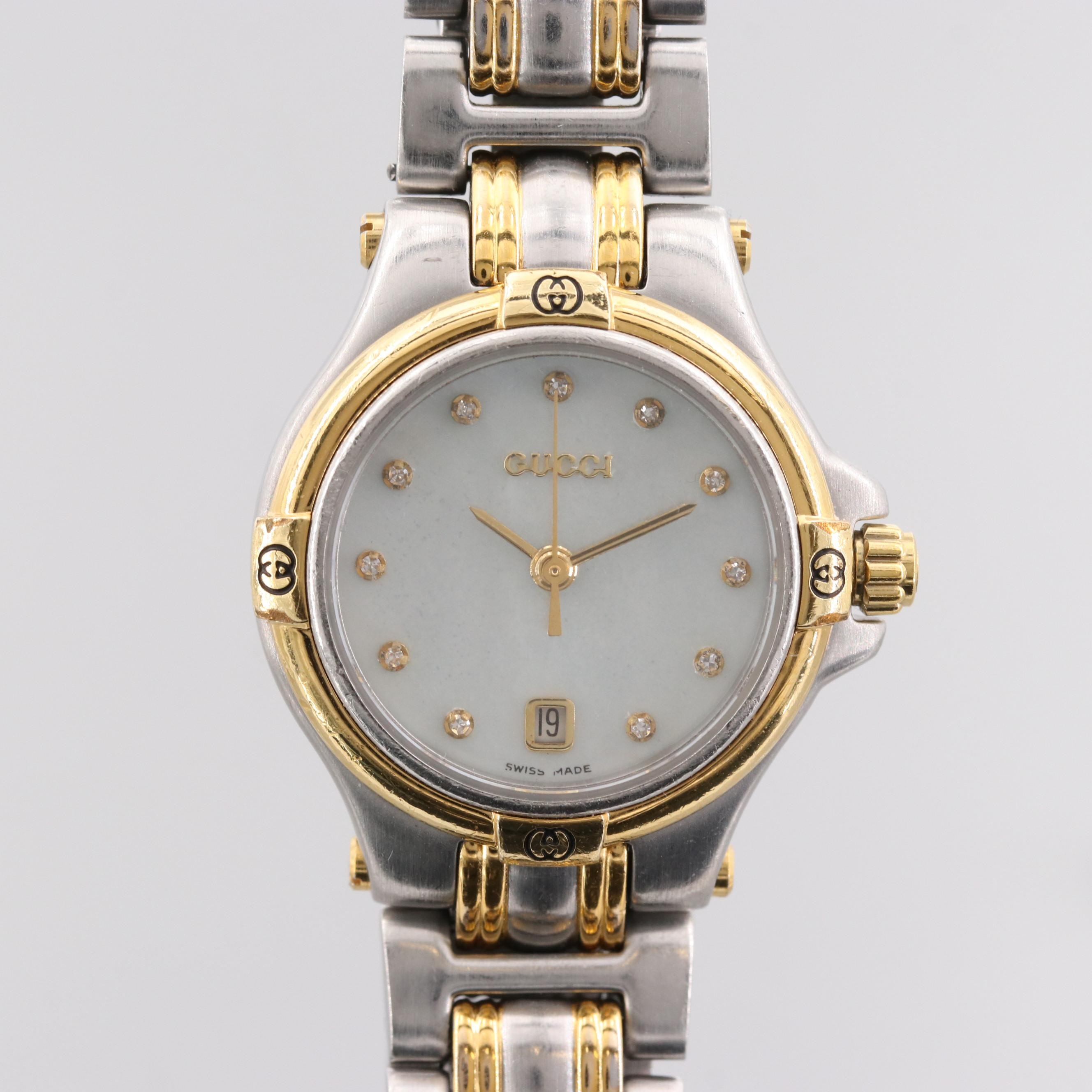 Gucci Two Tone Mother of Pearl and Diamond Dial Wristwatch
