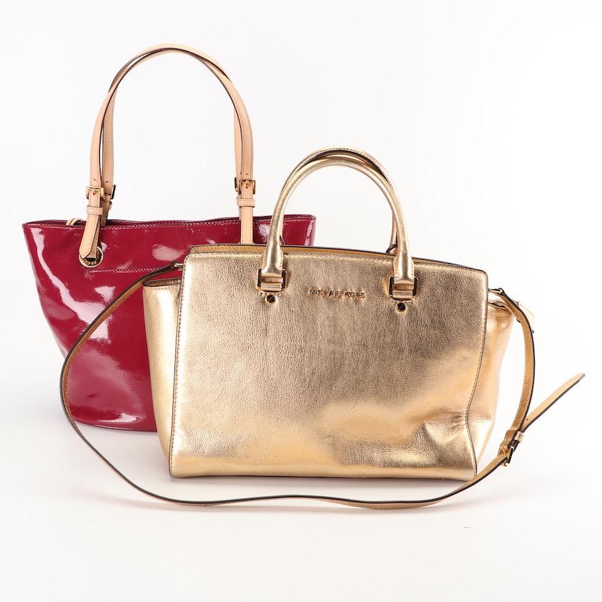 Celine Metallic Leather Handbags Shopstyle. Michael Michael Kors Metallic  Leather And Magenta Red Patent Leather d0bbb353c4d98