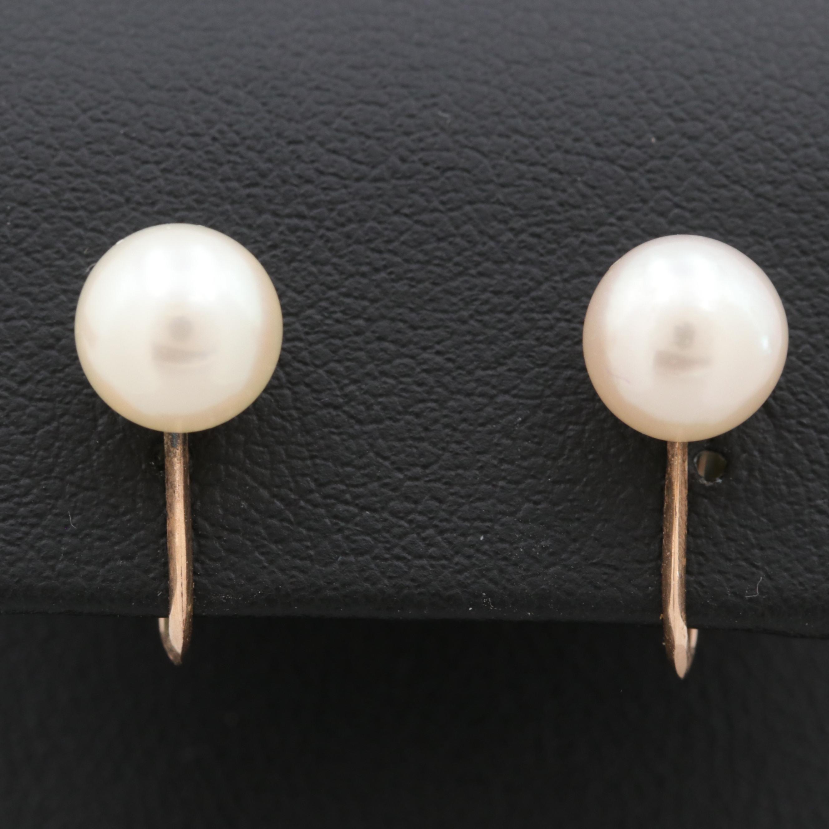 10K Yellow Gold Cultured Pearl Earrings