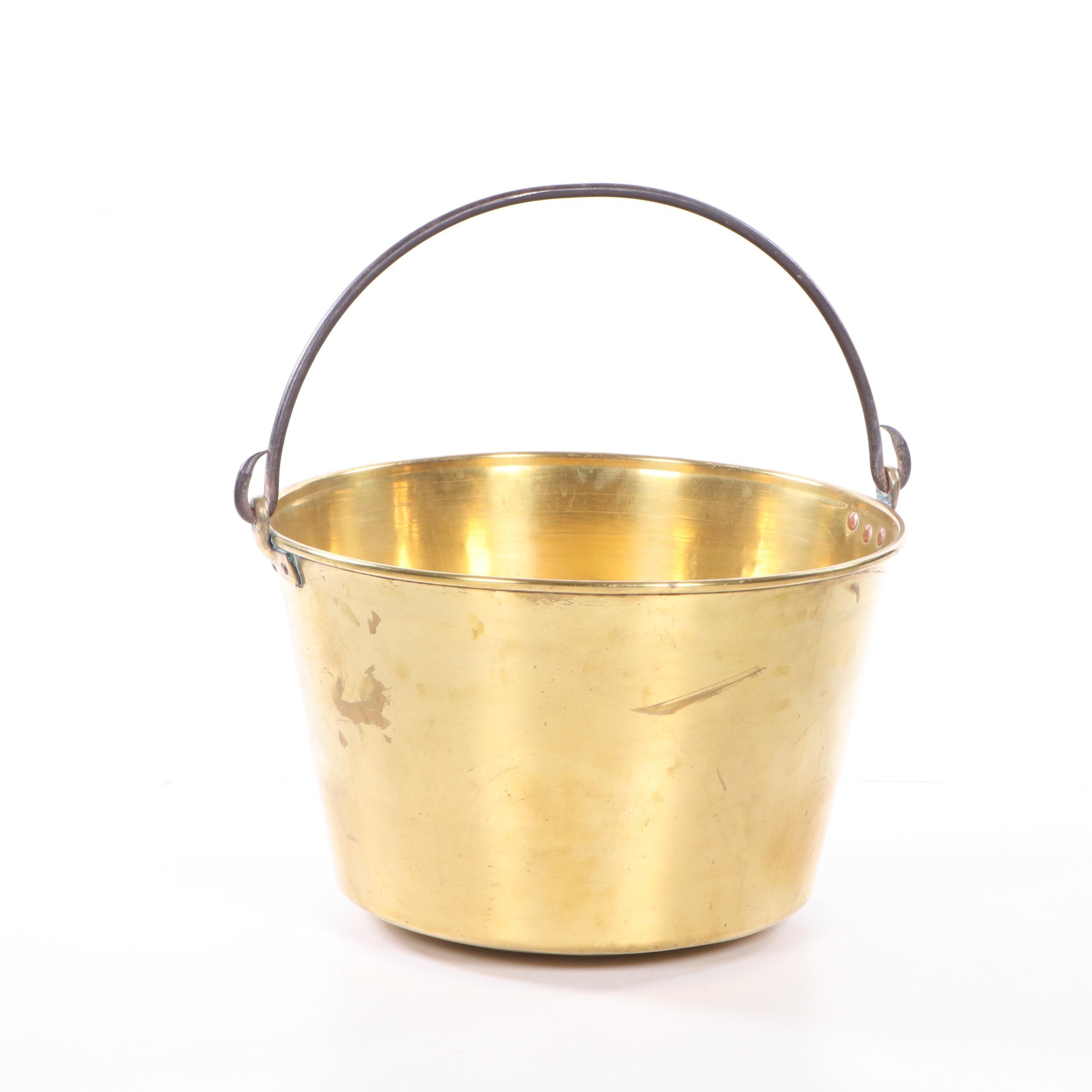 H.W. Hayden Brass Fireplace Bucket, Late 19th Century