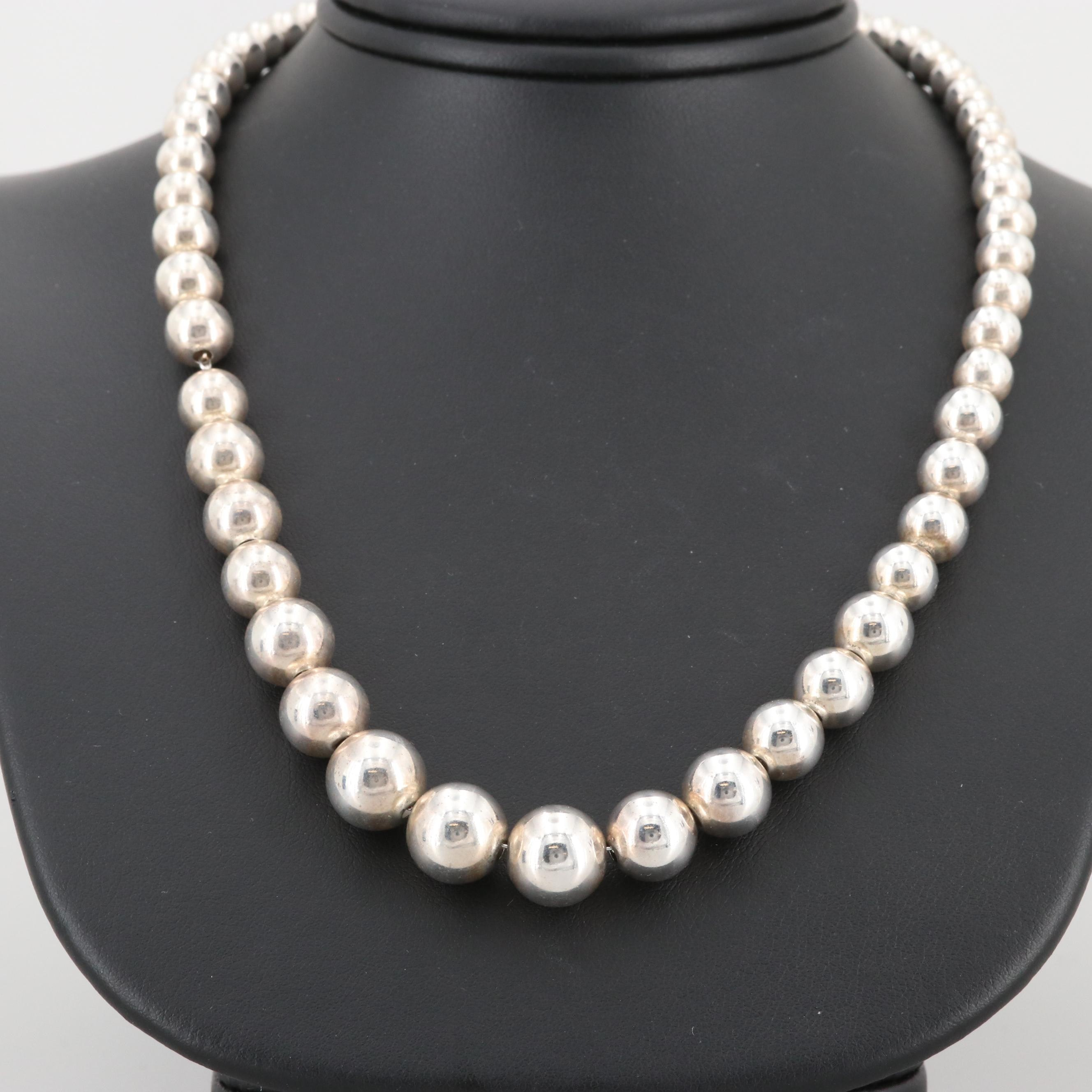 Tiffany & Co. Sterling Silver Graduated Bead Necklace