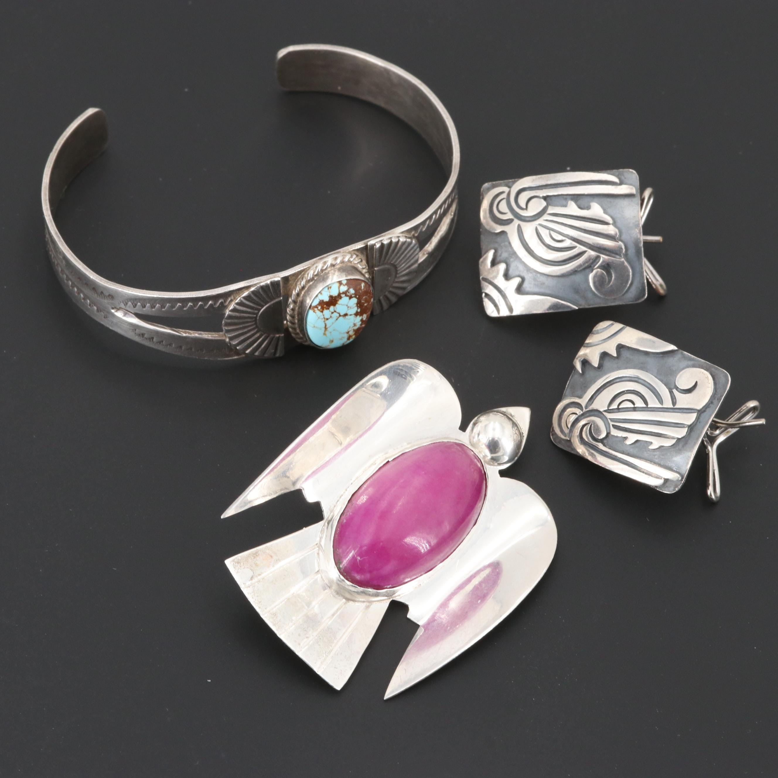 Mexican Sterling Silver Turquoise and Calcite Bracelet, Brooch and Earrings