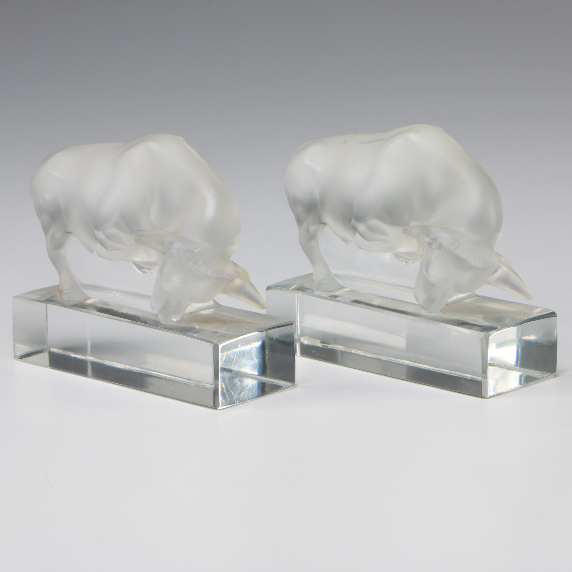 Pair of Lalique Frosted Crystal Charging Bull Figurines