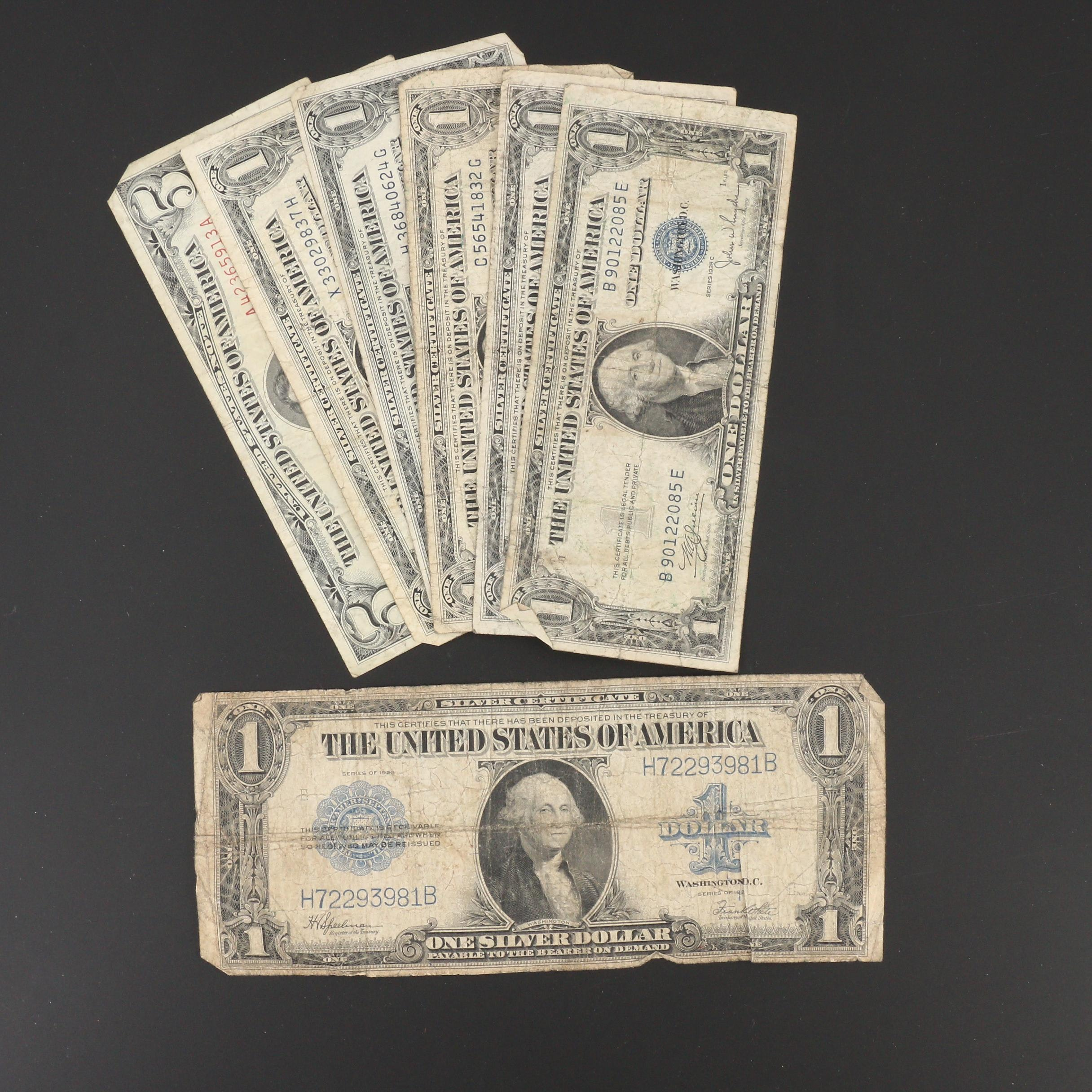 Group of Vintage U.S. Currency, Mainly Silver Certificates