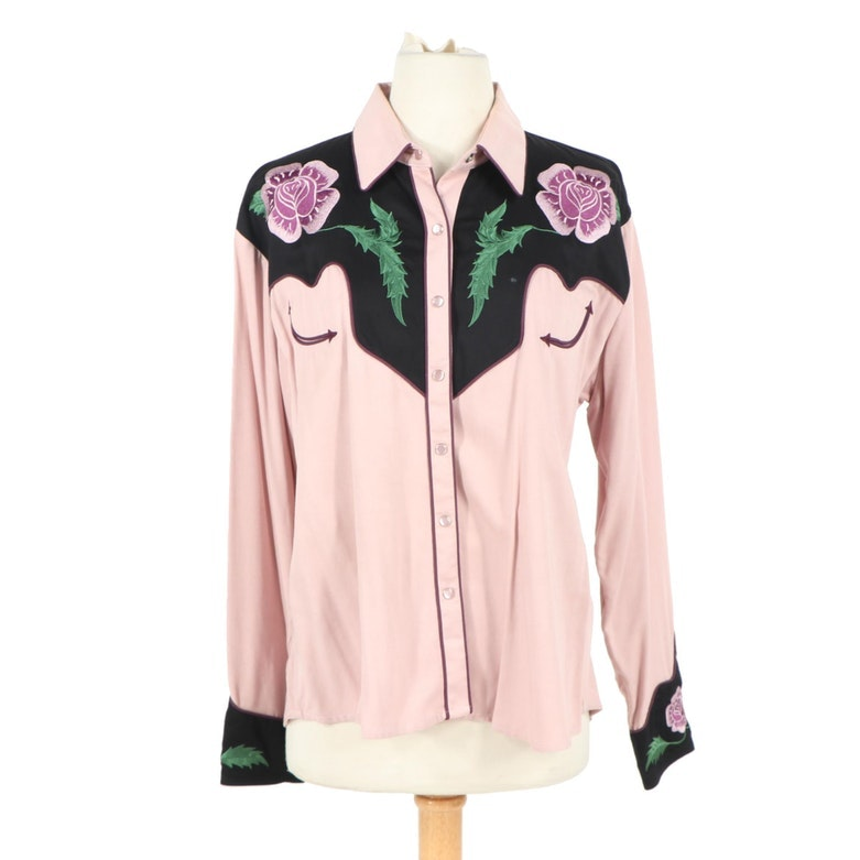 Women's The Manuel Collection Floral Embroidered Pink and Black Western Shirt