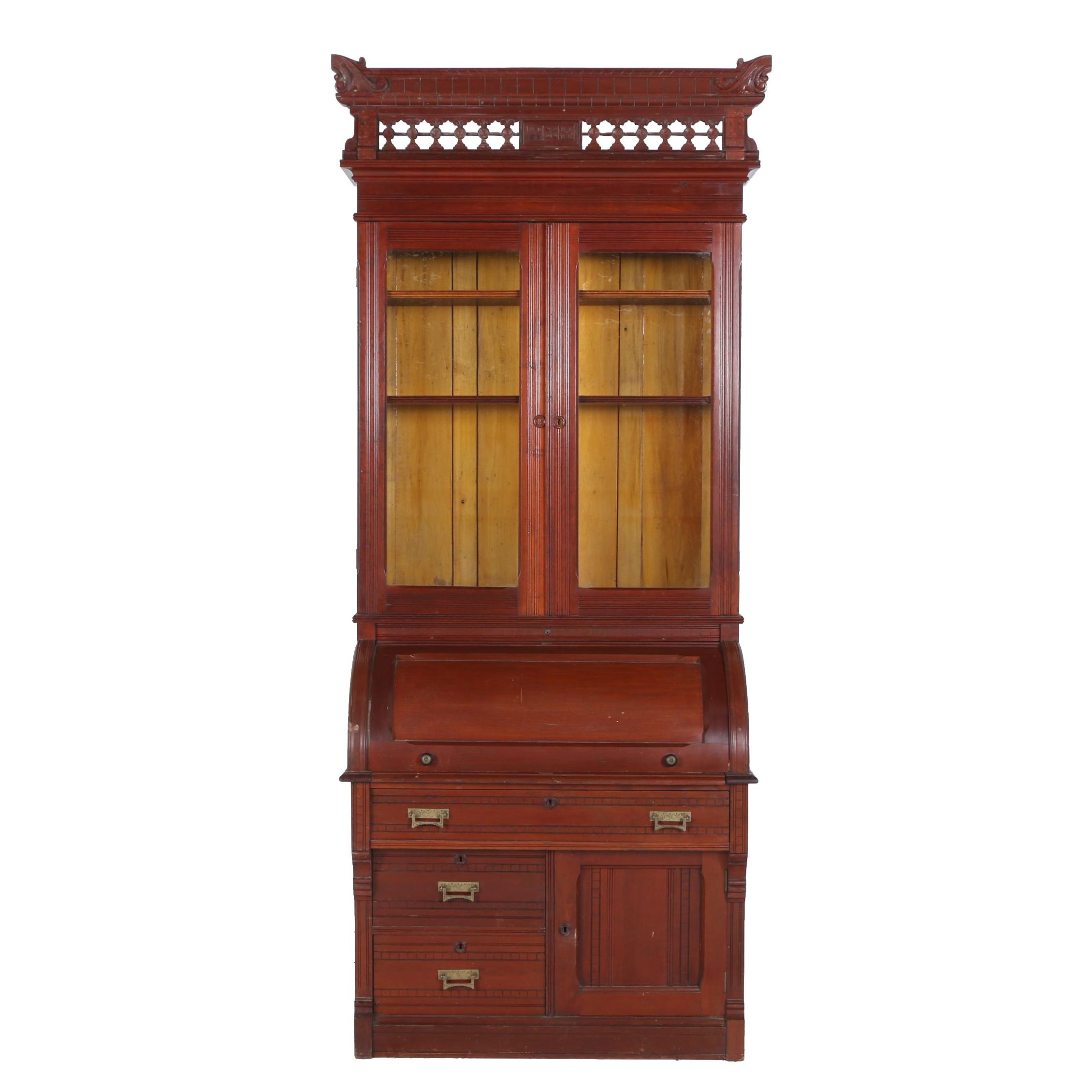 Victorian Cherrywood and Mahogany Cylinder Secretary Bookcase, Late 19th Century