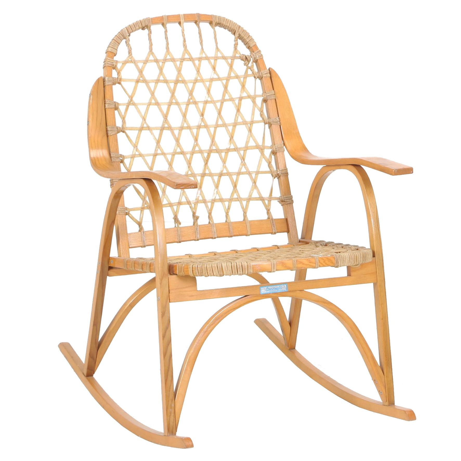 """Bent Oak and Rawhide """"Sno Shu"""" Rocking Chair by Snocraft of Maine, Circa 1970"""