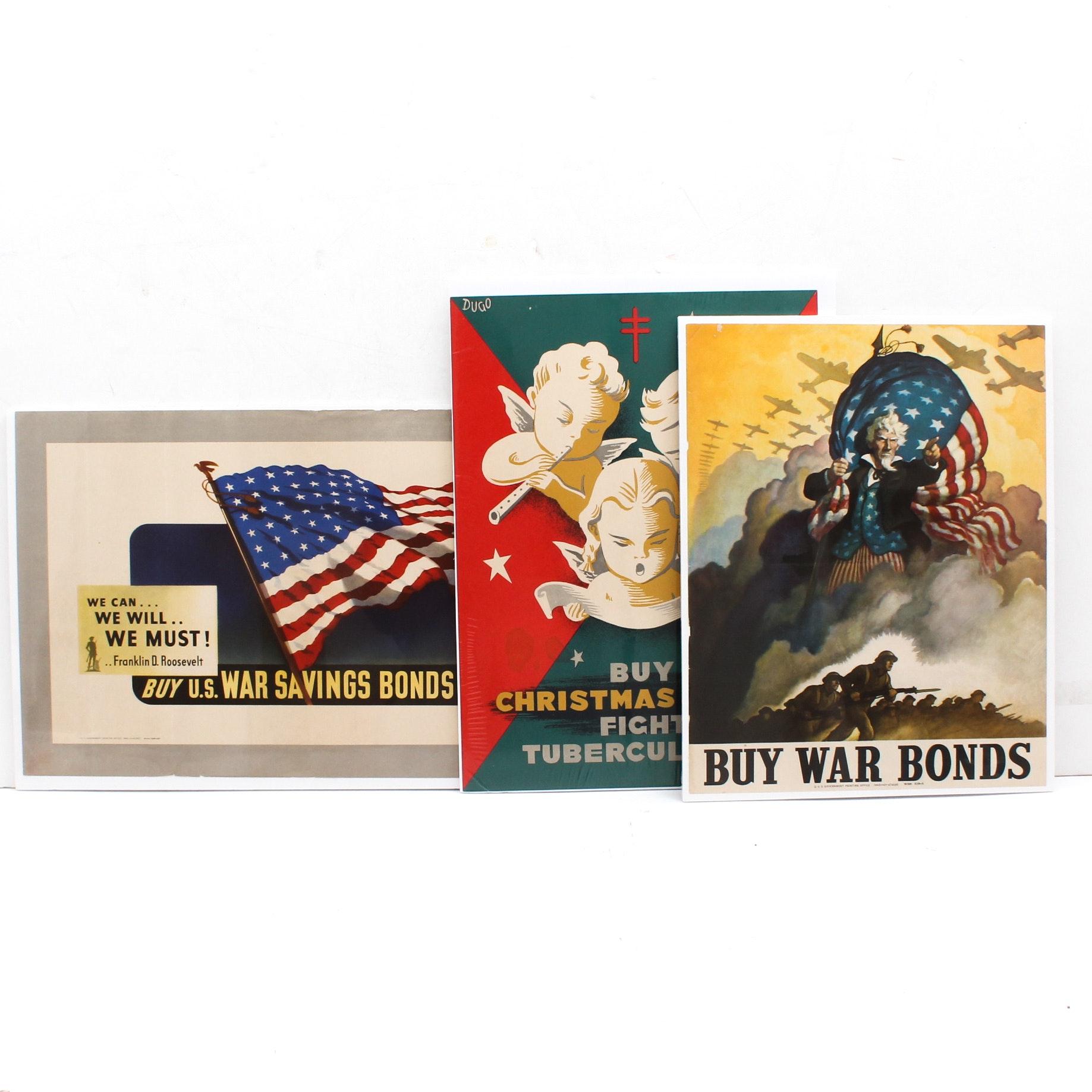 Vintage War Bond and Christmas Seal Posters