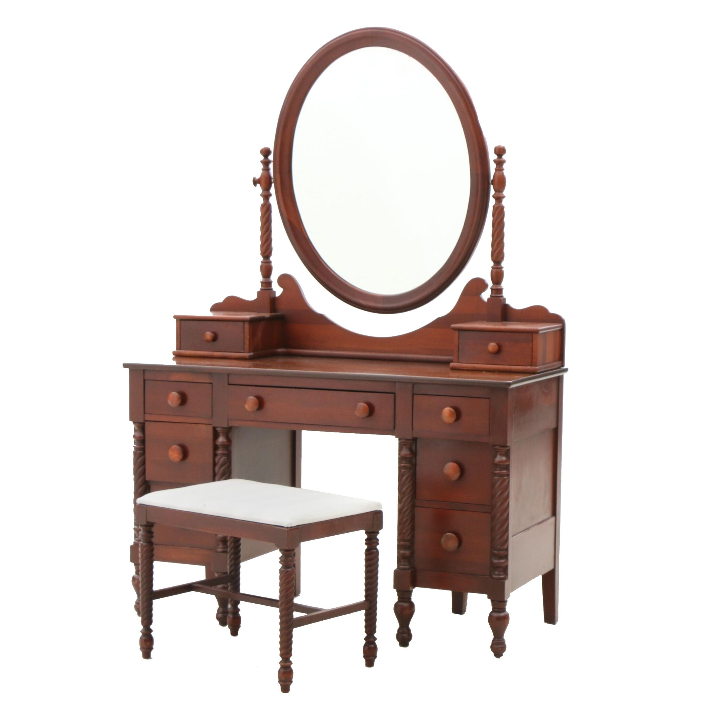 Federal Style Dressing Table an Mirror in Cherry by Willett, Circa 1960