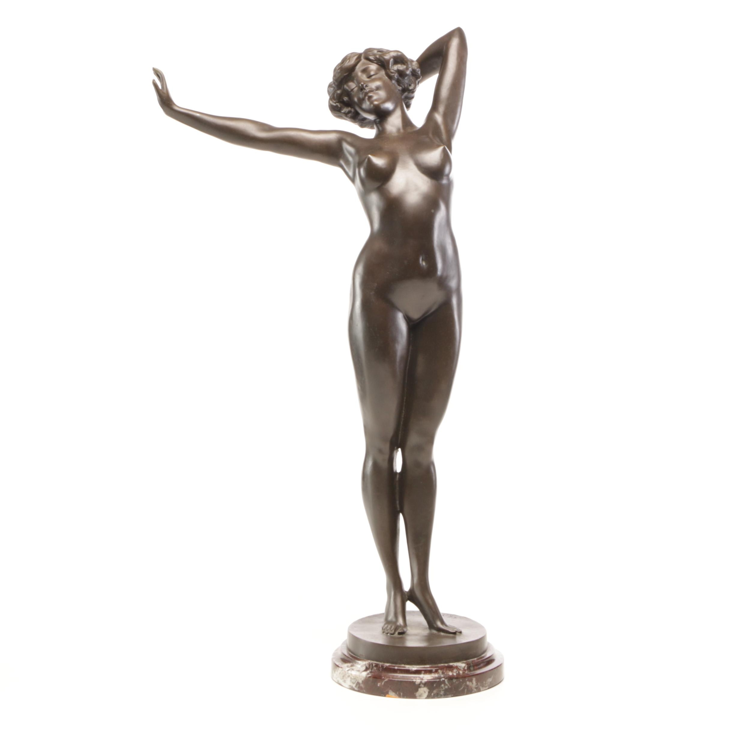 "Paul Philippe ""Awakening"" Bronze Figural Sculpture on Marble Base"
