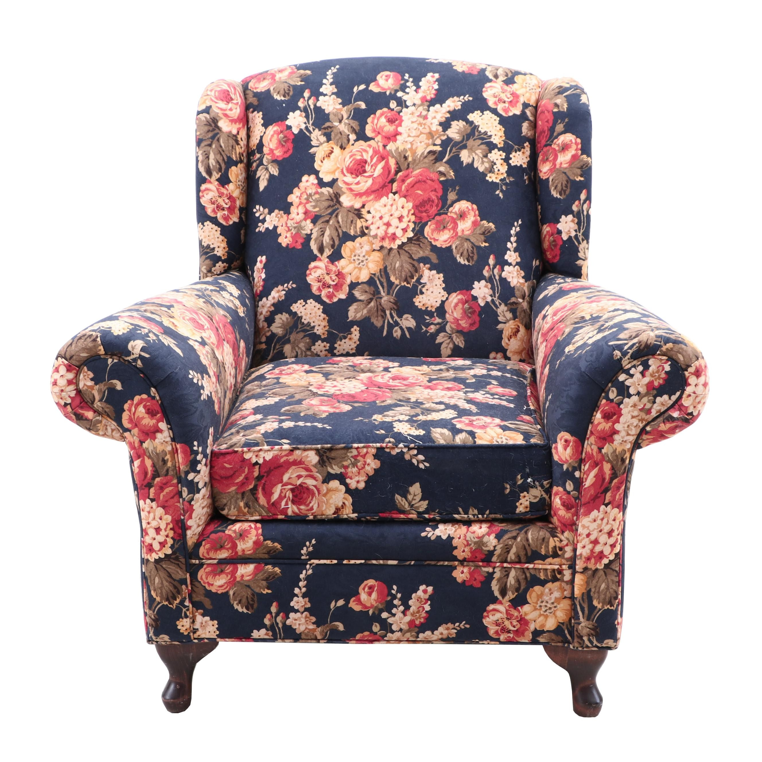 Contemporary Wingback Chair in Floral Linen Upholstery by King Hickory