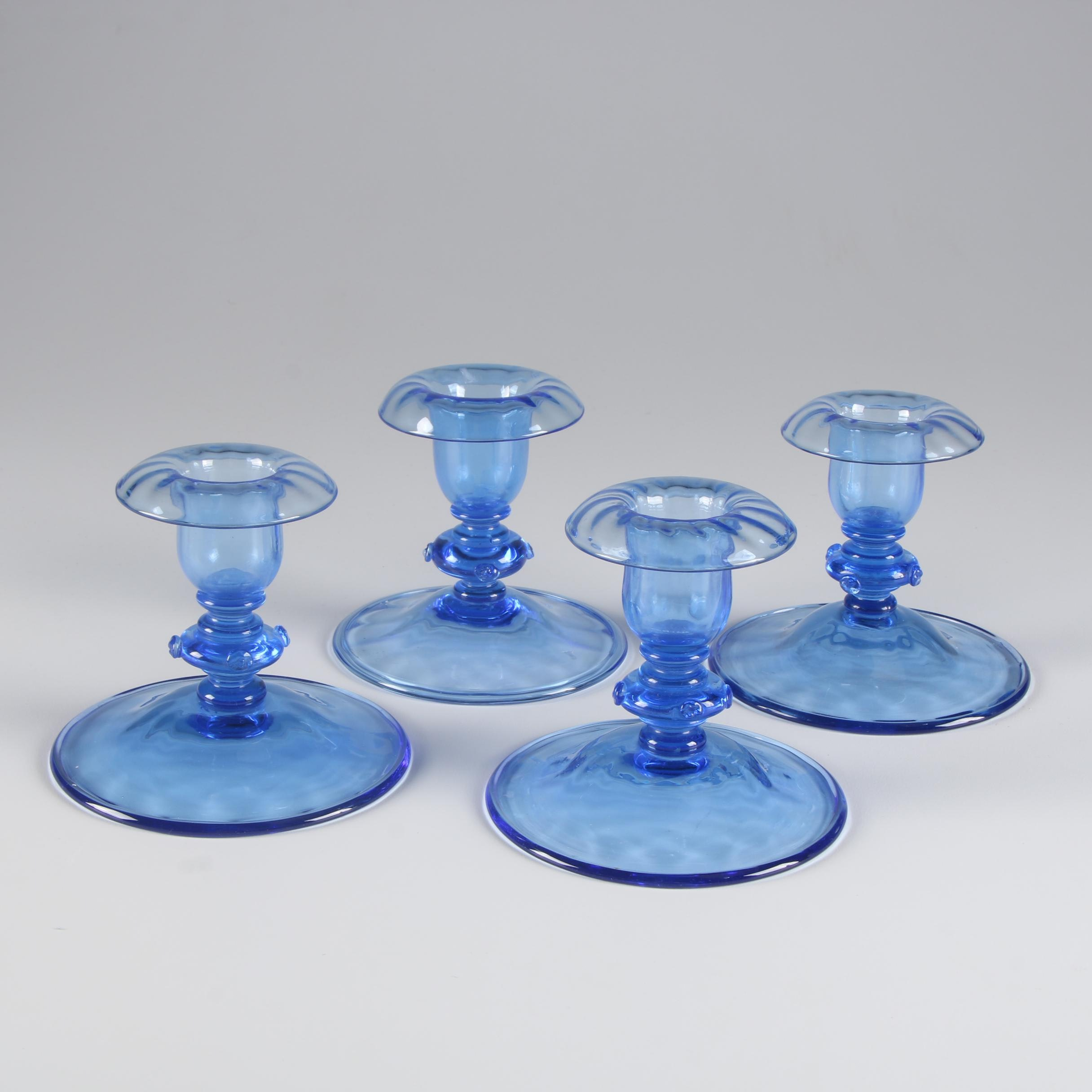 Steuben French Blue Art Glass Candlesticks, Early 20th Century