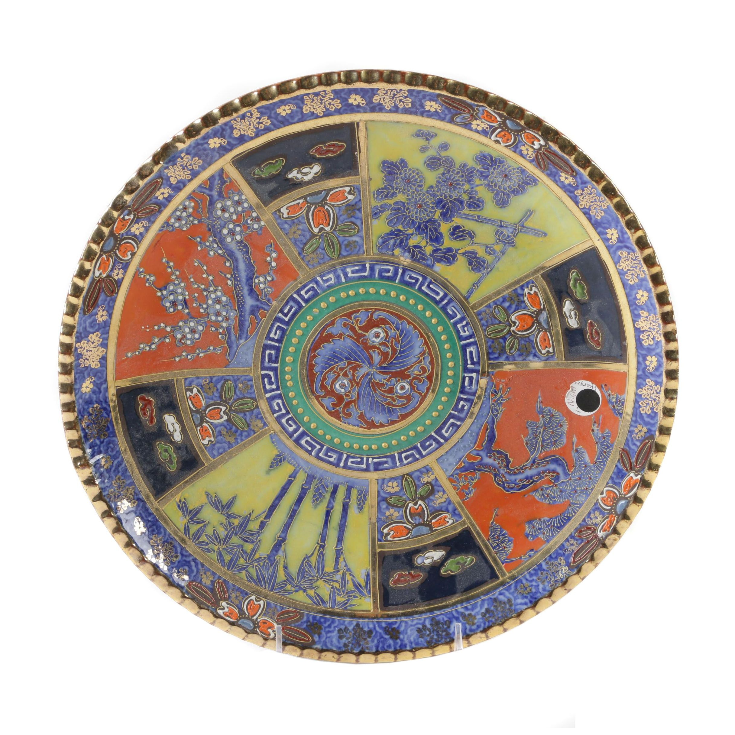 Chinese Imari Style Porcelain and Enamel Serving Plate