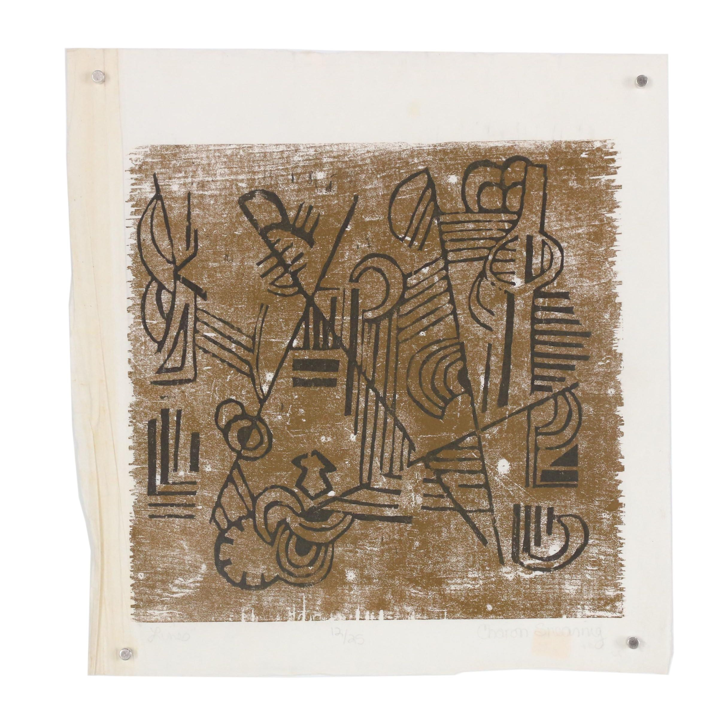 "Charon Shearing Limited Edition Woodcut ""Lines"""