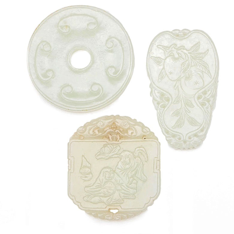 Chinese Carved Nephrite Jade Medallions