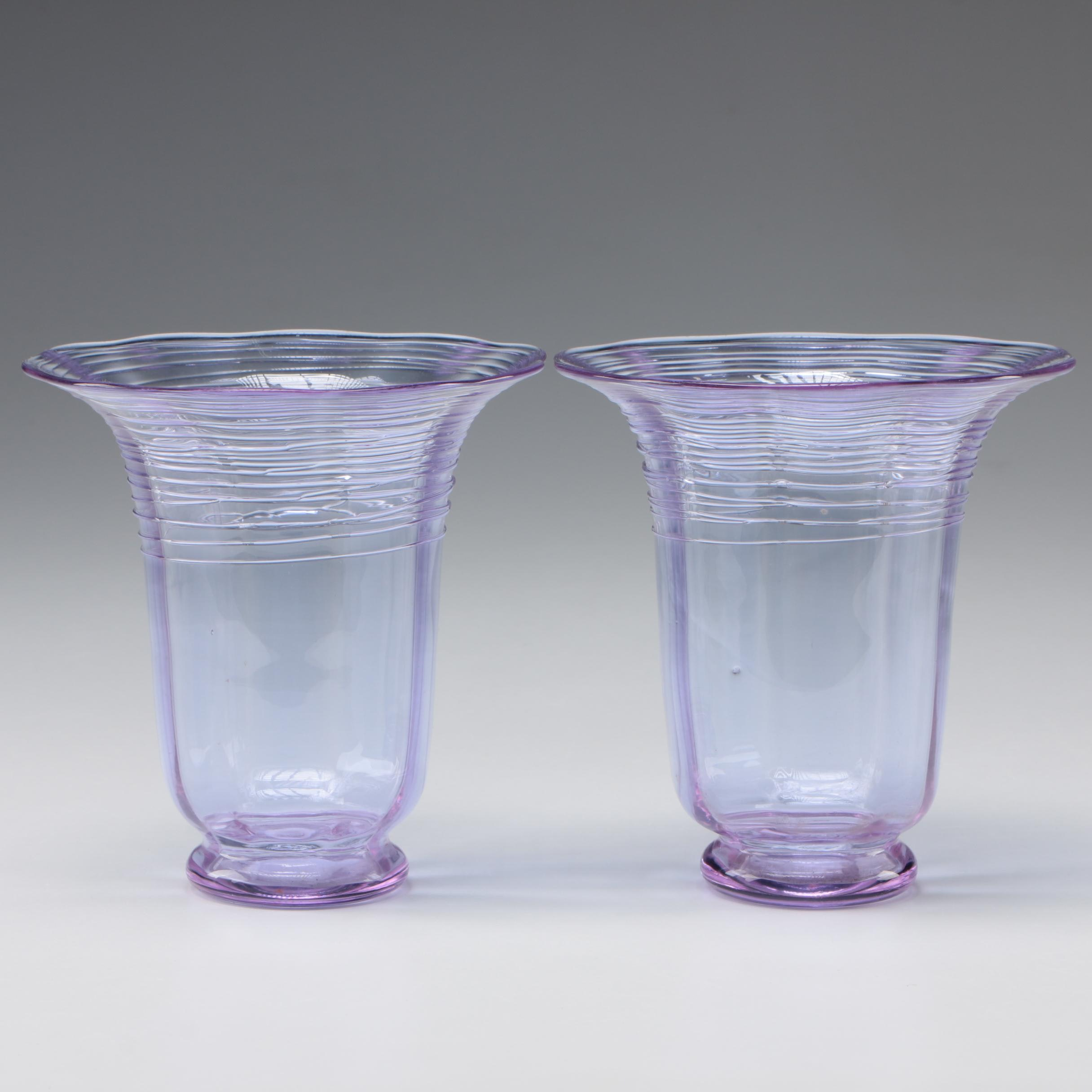 Steuben Wisteria and Reeded Art Glass Vases by Frederick Carder, 1903 - 1933