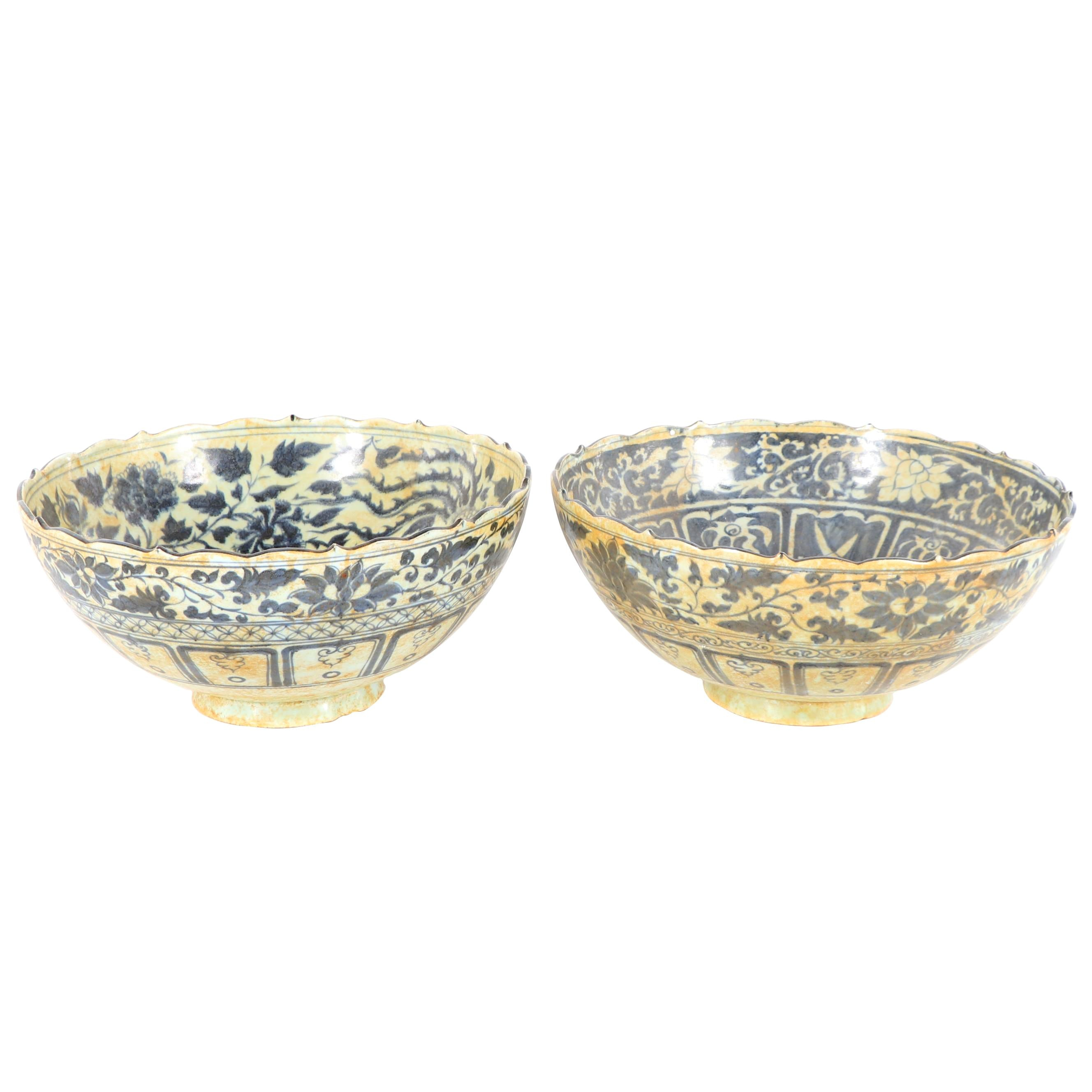 Chinese Blue and White Decorative Planter Bowls