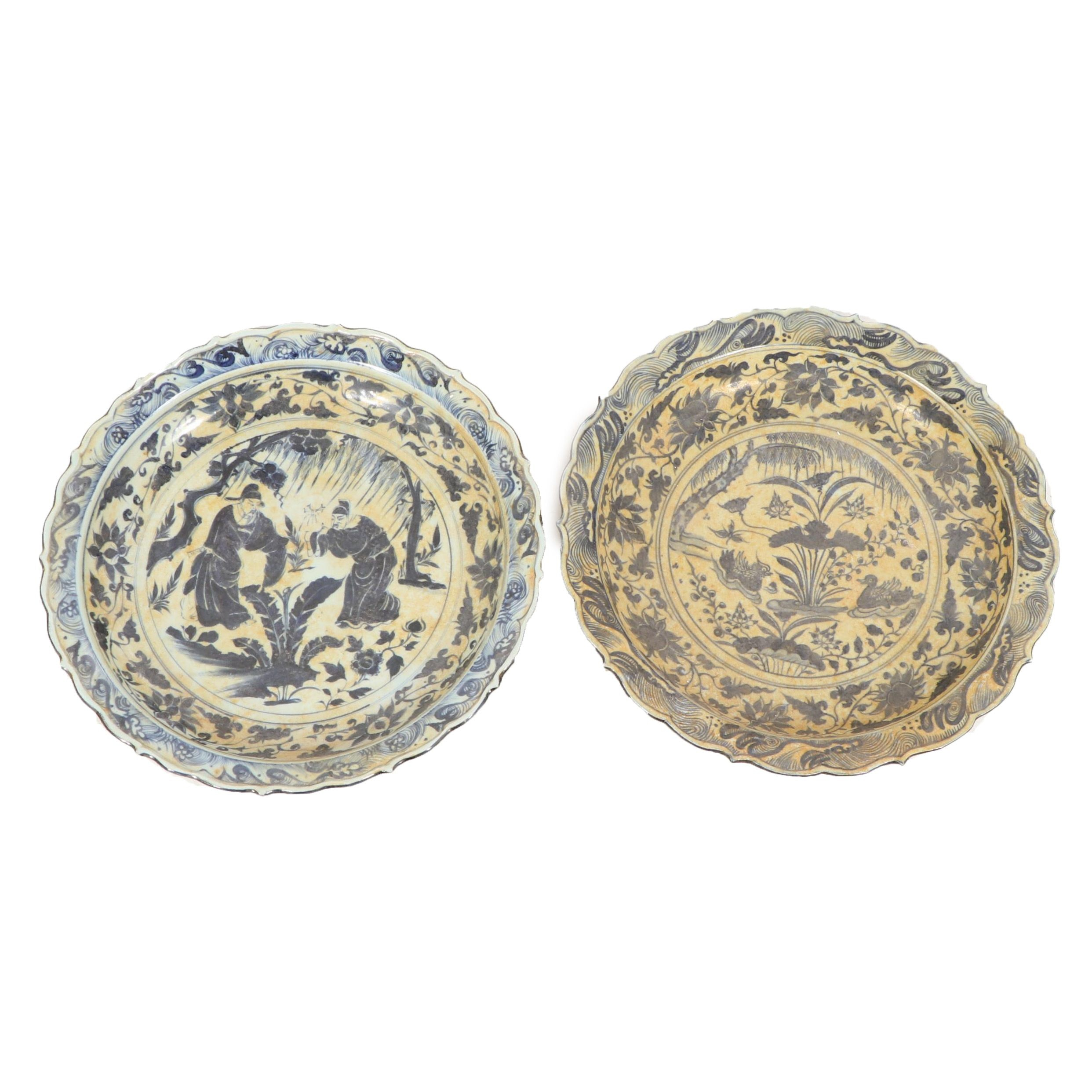 Chinese Blue and White Decorative Drainage Plates