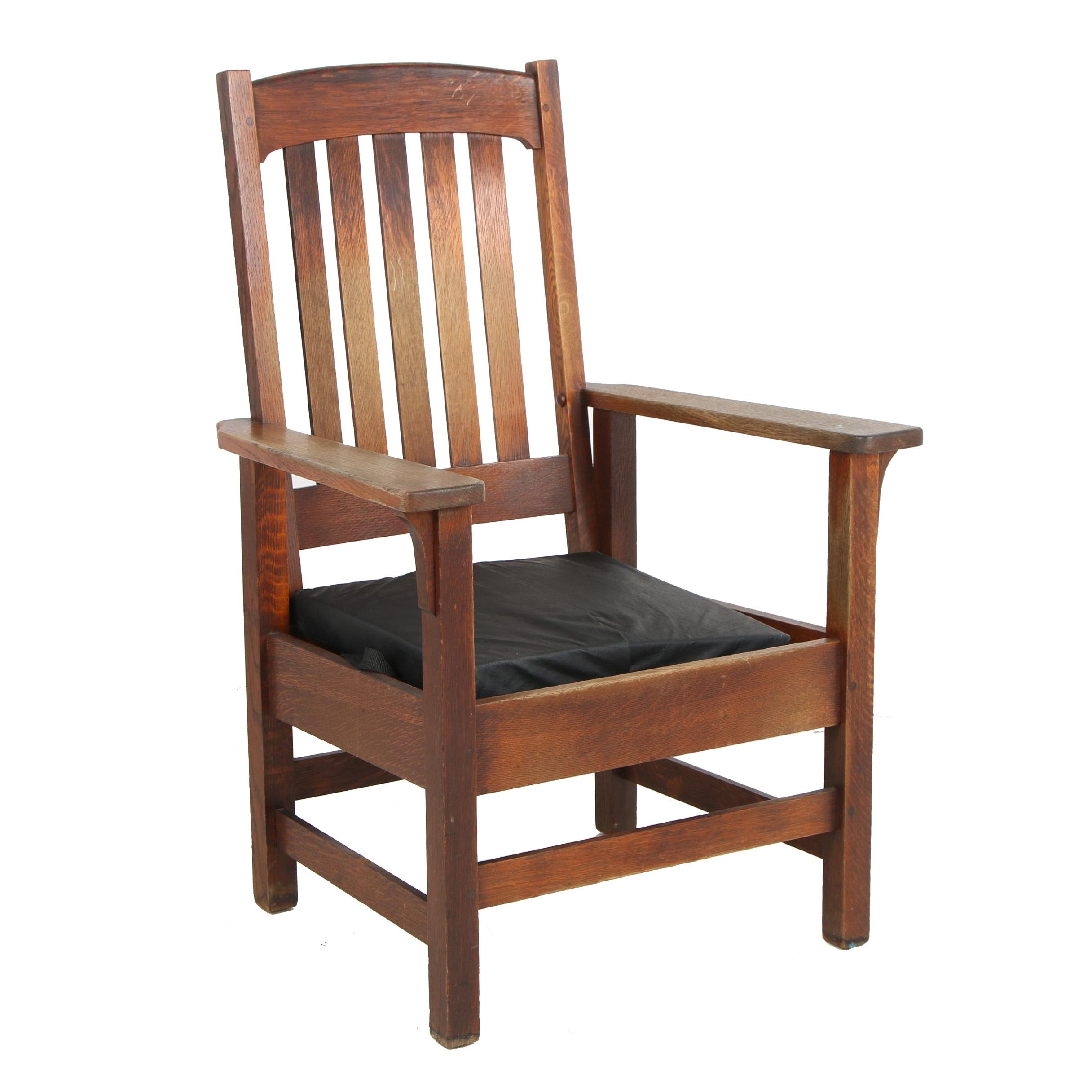 Wooden Arts and Crafts Style Slat Back Armchair