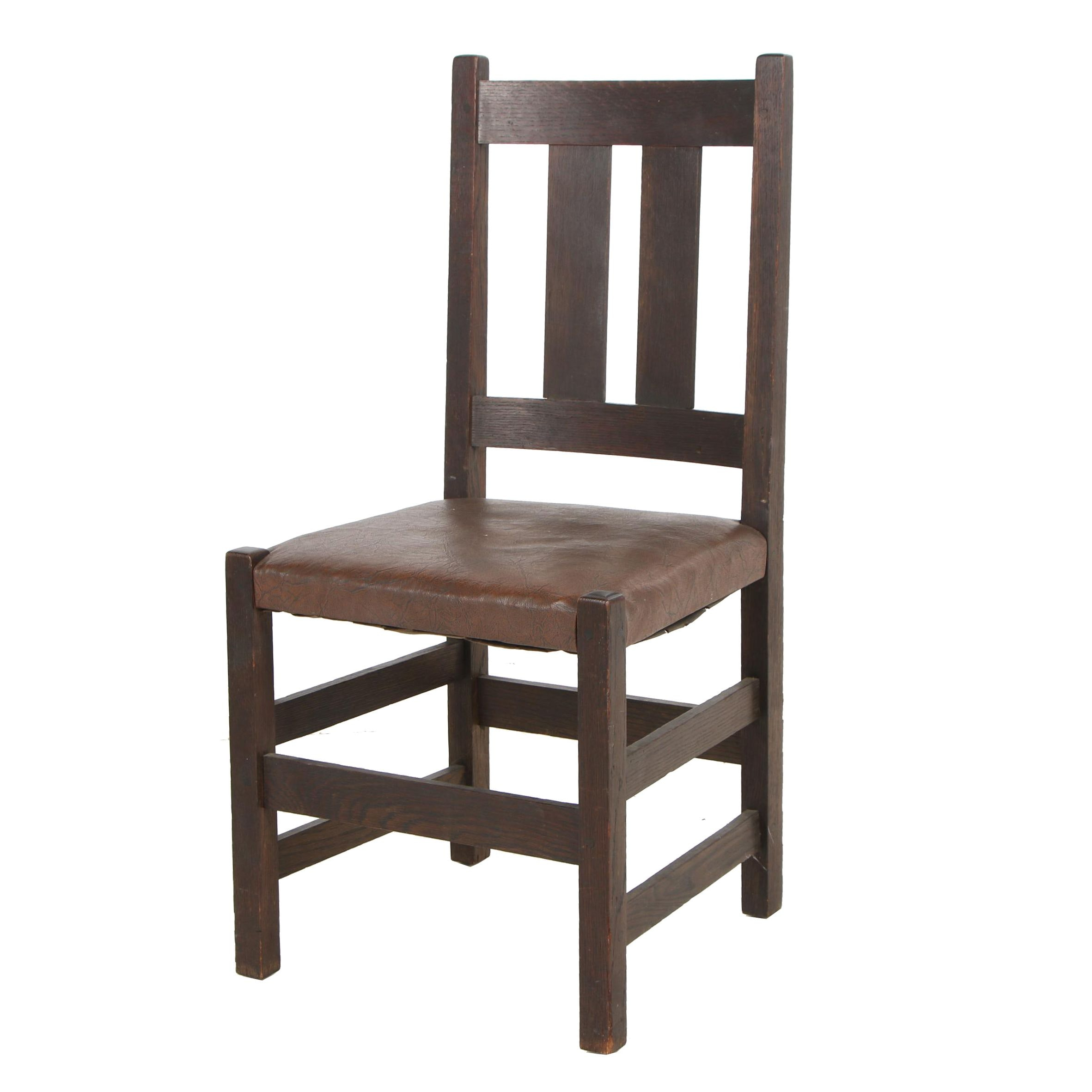 Ridenour Arts & Crafts Furniture Slat Back Chair with Leather Seat