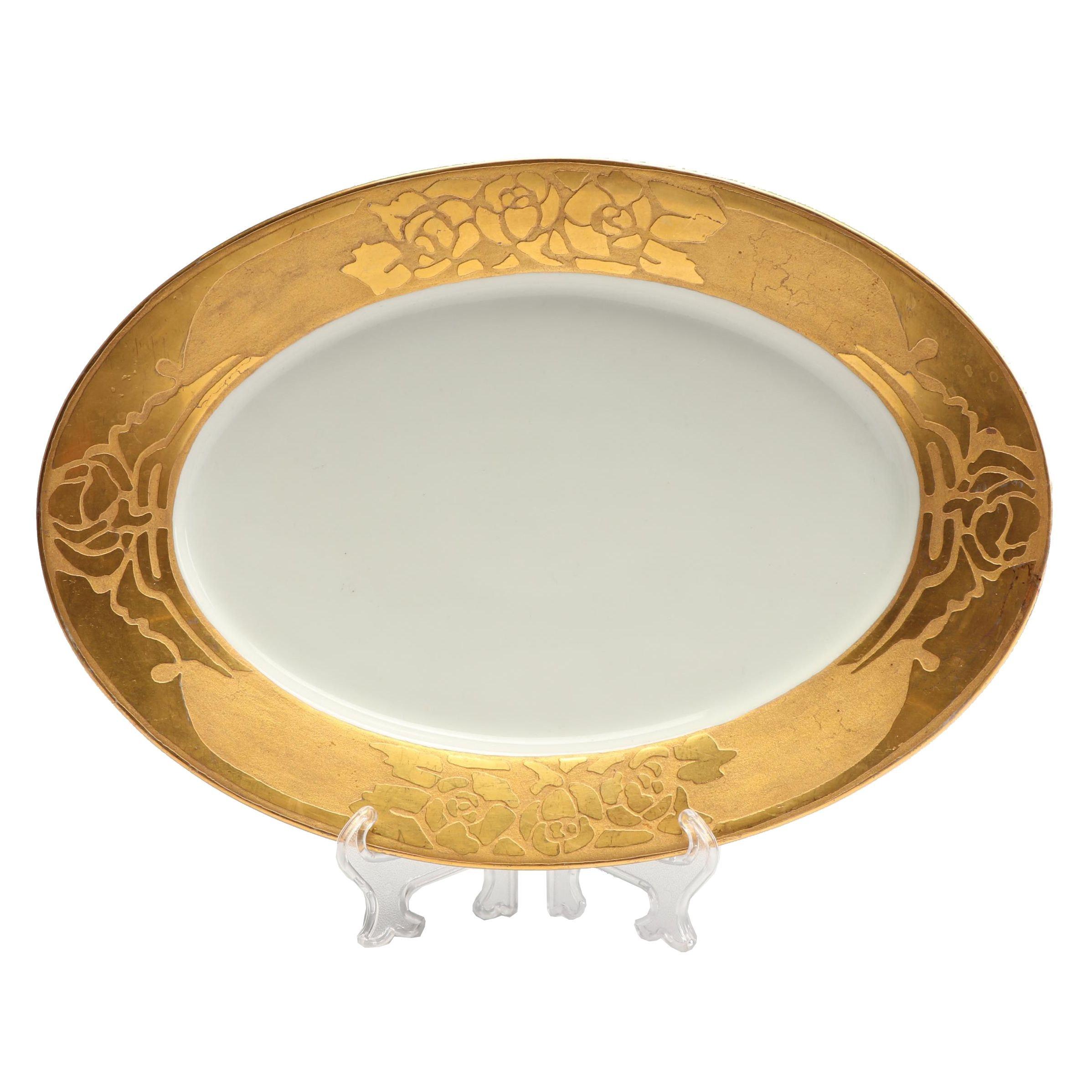 Gilt Rose Porcelain Platter, 20th Century