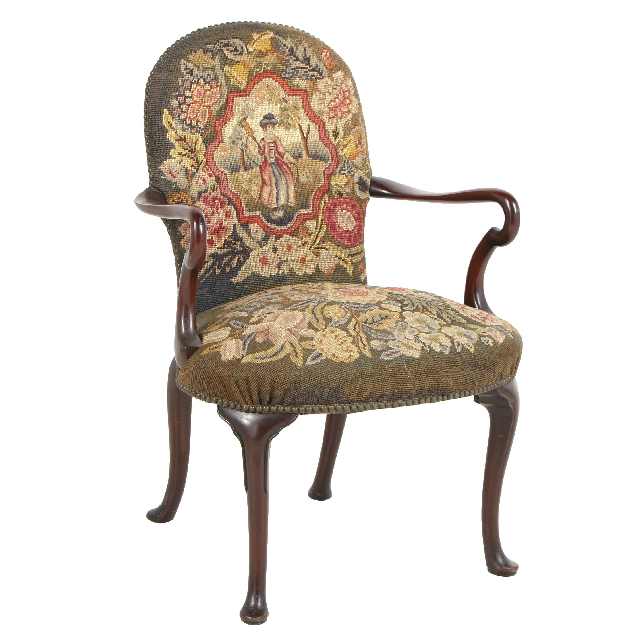 Queen Anne Style Armchair with Pictorial Needlepoint Embroidery, Early 20th c.