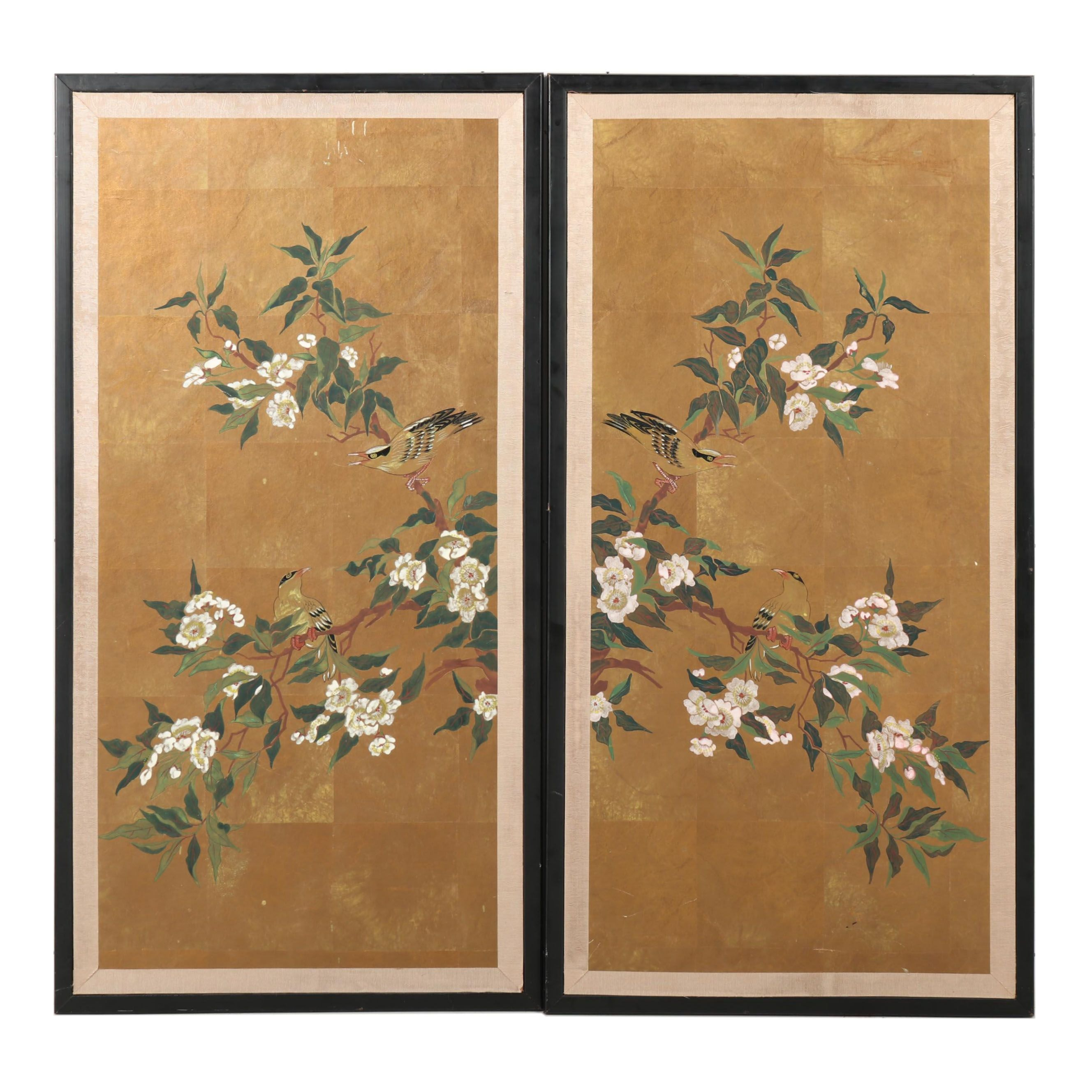 Japanese Painted Hanging Panels, Late 20th Century