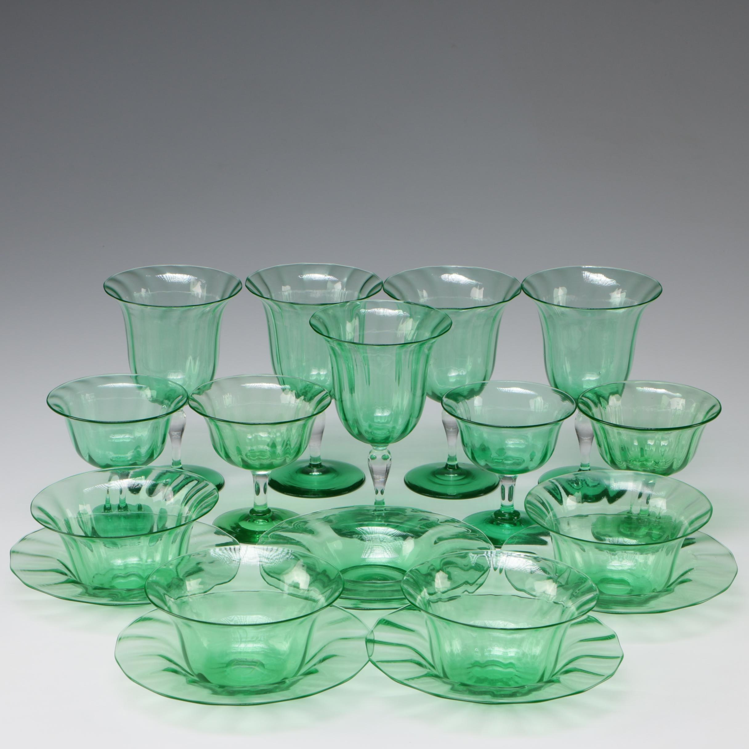 Steuben Pomona Sherbets with Underplates, Goblets, and Finger Bowls, 1903 - 1933