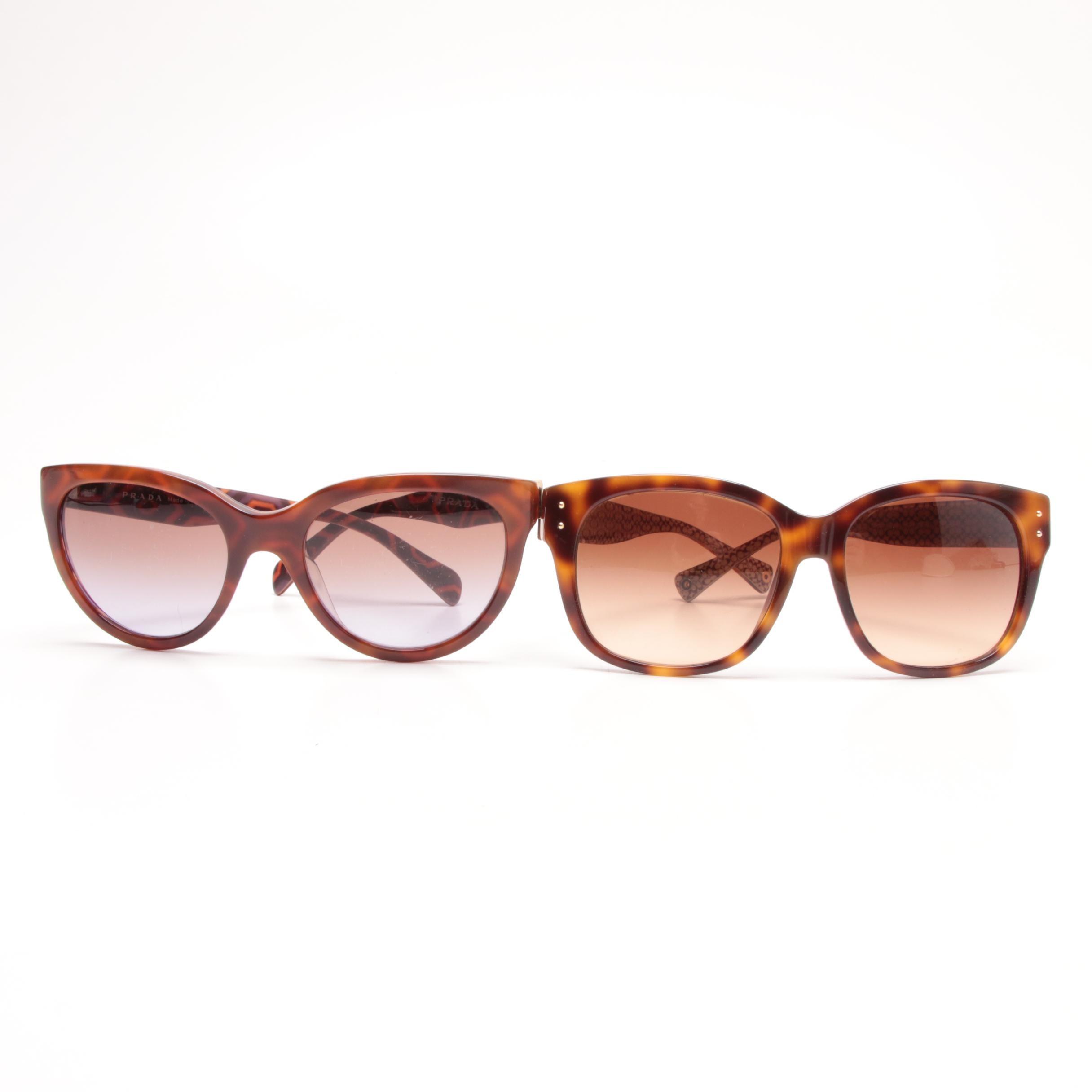 Prada and Coach Sienna Tortoiseshell Style Sunglasses with Cases