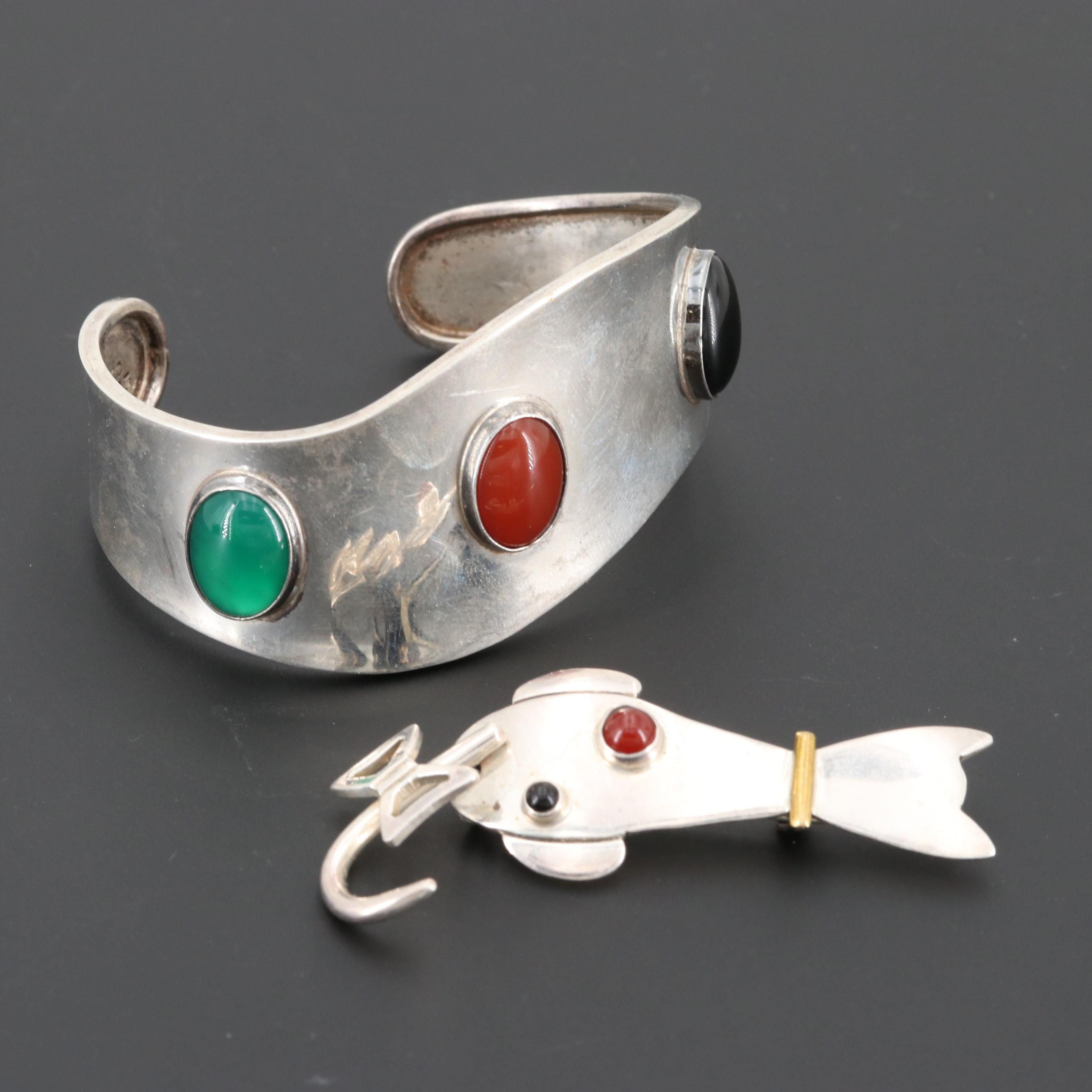 Mexican Sterling Black Onyx, Carnelian and Chalcedony Bracelet and Cat Brooch