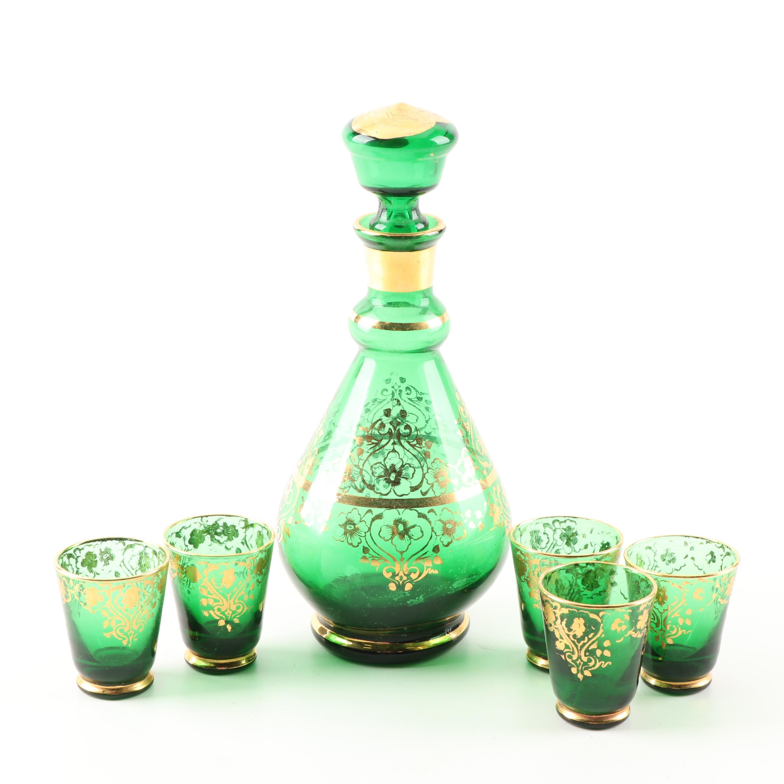 Green Glass Decanter and Cordial Glasses with Gold Tone Accents
