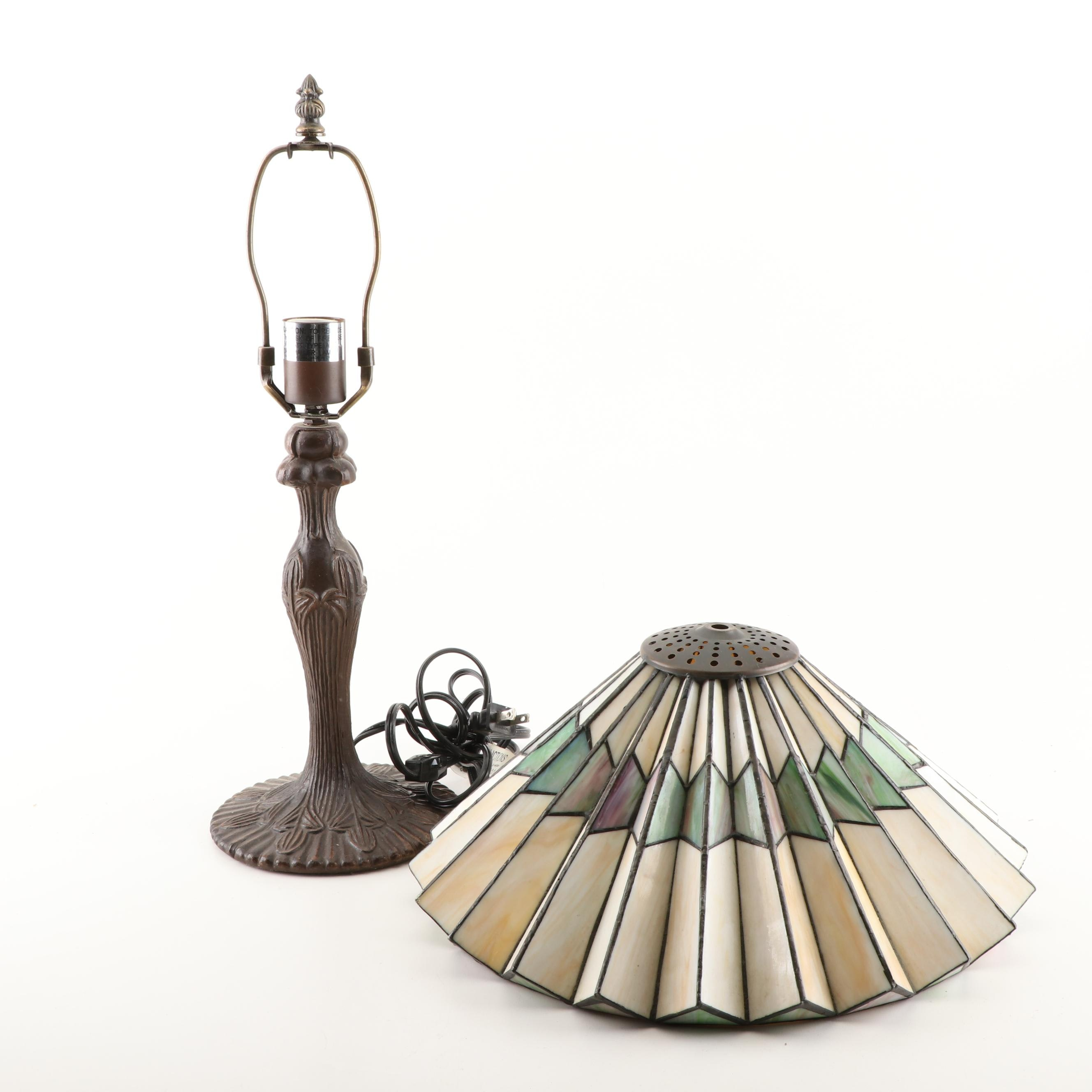 Art Nouveau Style Lamp with Slag Glass Shade