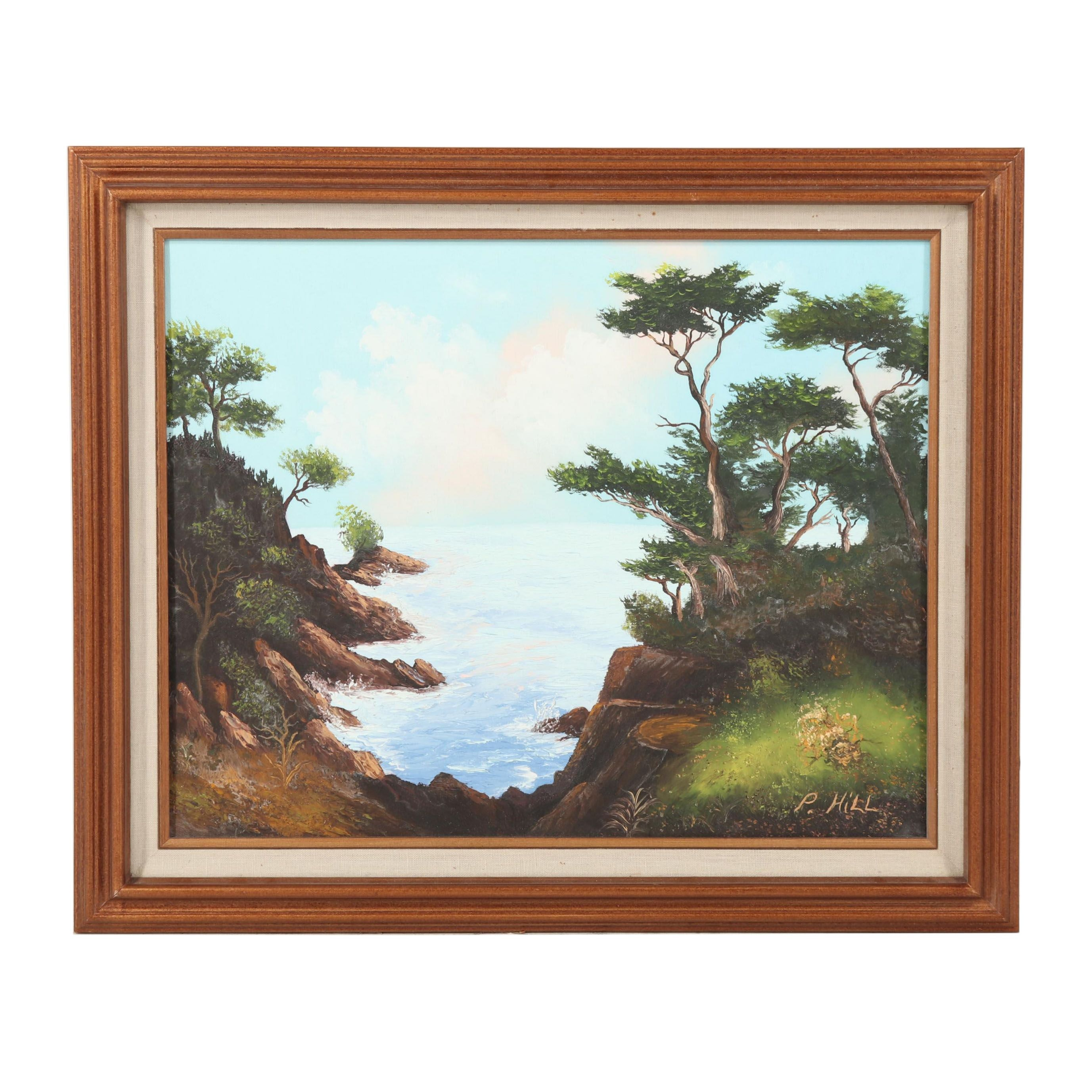 P. Hill Oil Painting of a Coastal Landscape
