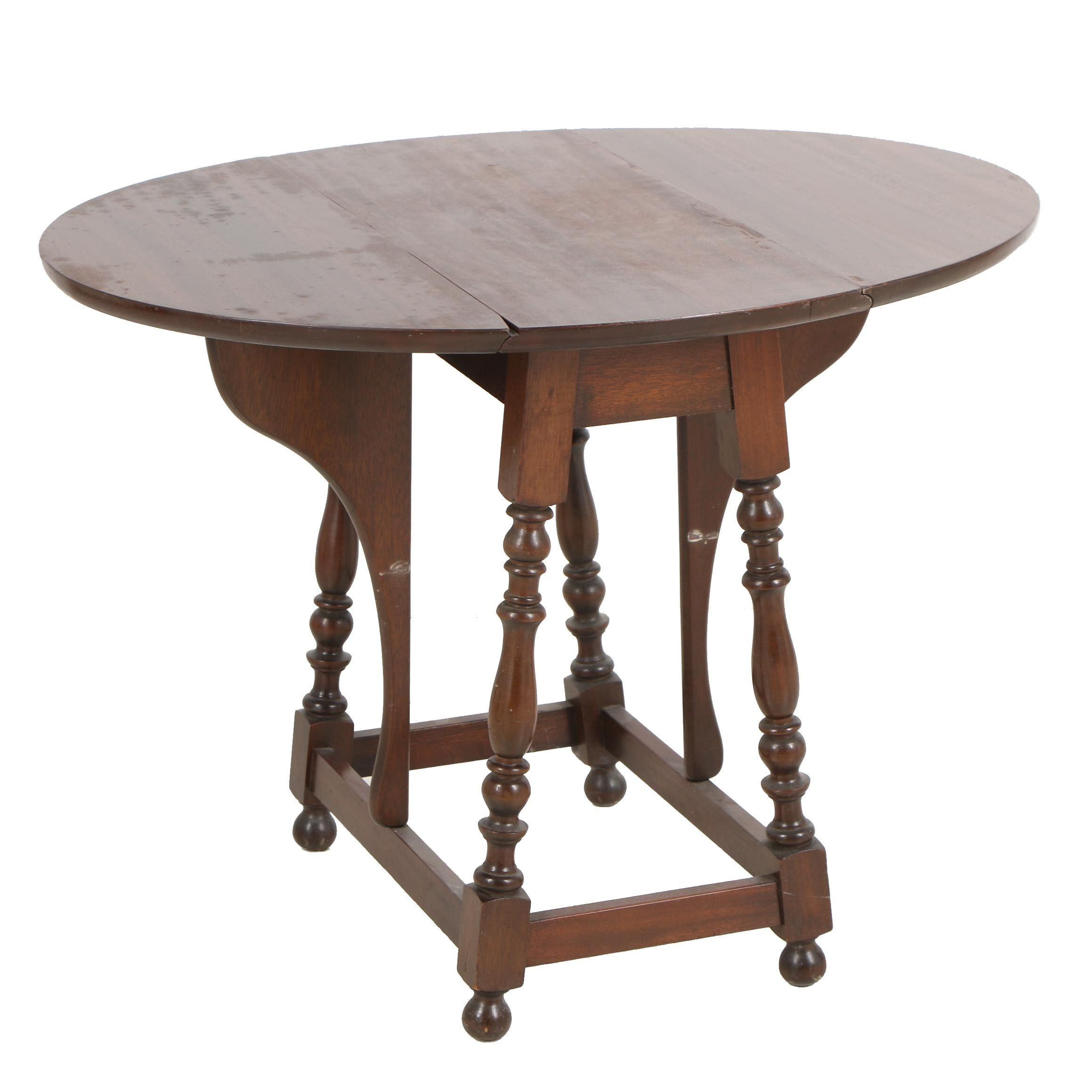 Colonial Revival Mahogany Butterfly Drop Leaf Table, Mid to Late 20th Century