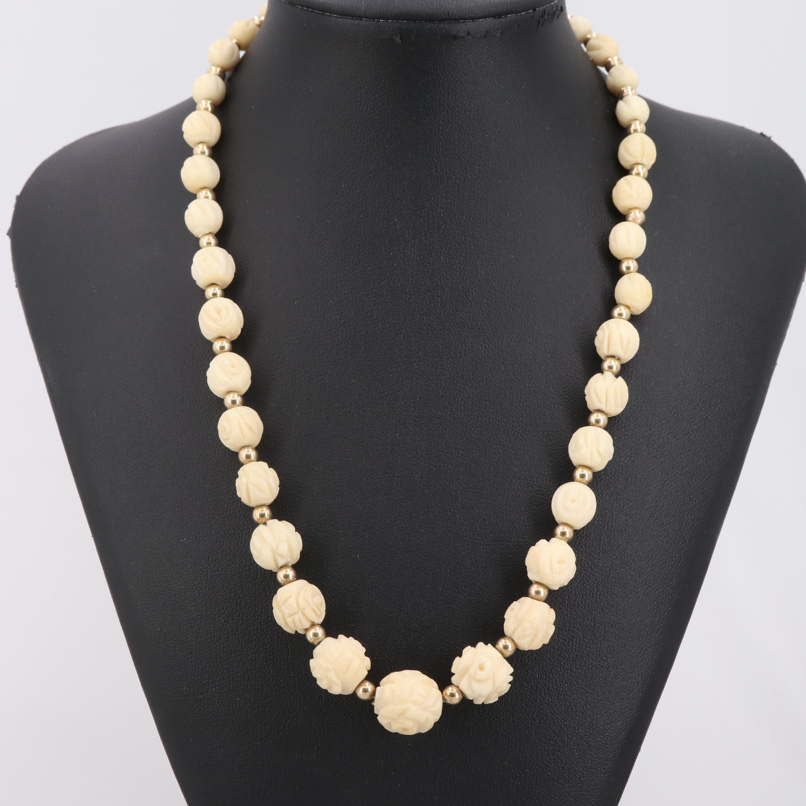 Gold Tone Carved Bone Graduated Necklace with 14K Yellow Gold Clasp