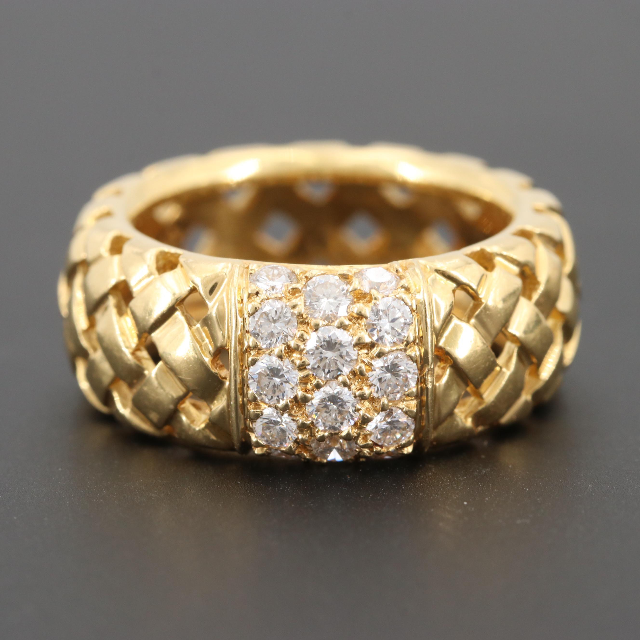 "Tiffany & Co. ""Vannerie"" 18K Yellow Gold Diamond Ring"