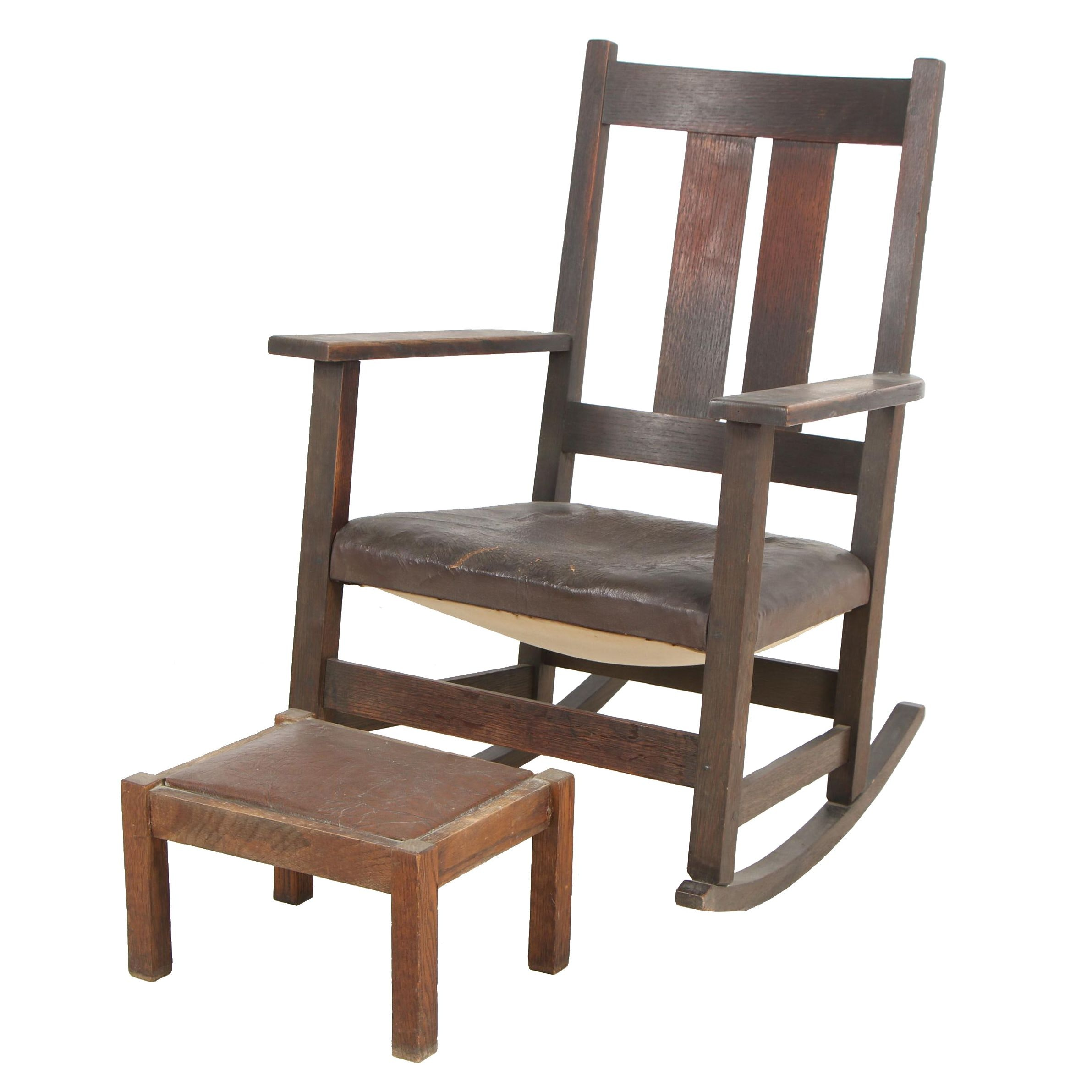 Arts and Crafts Style Rocking Chair and Stool