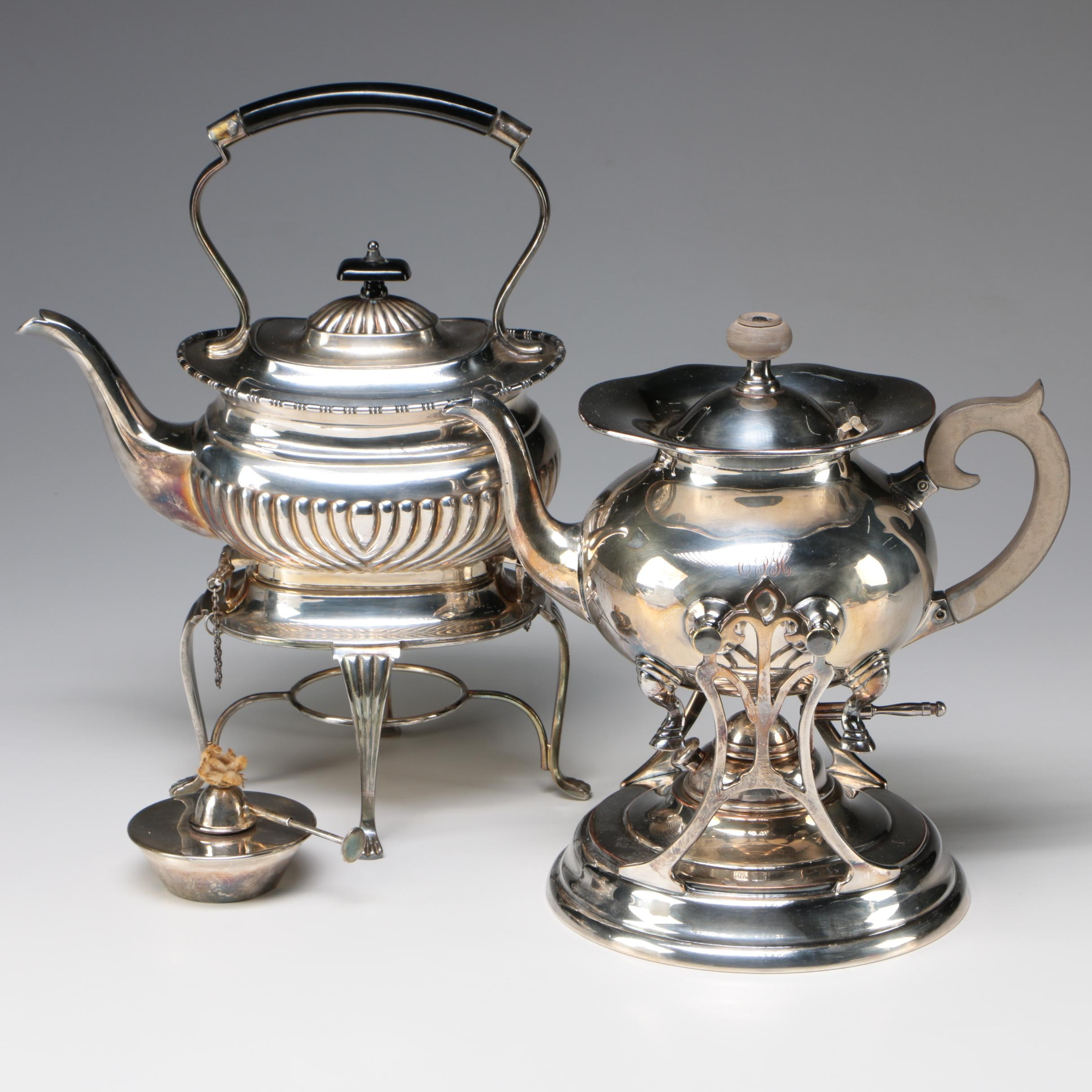 Silver-Plate Teapots on Warming Stands