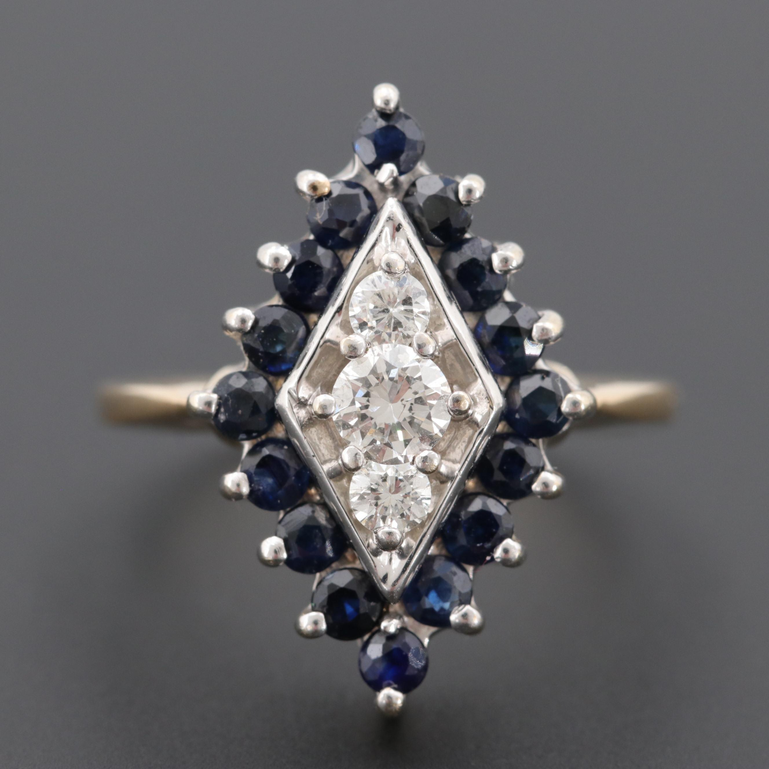 14K Yellow Gold Diamond and Sapphire Ring with White Gold Setting