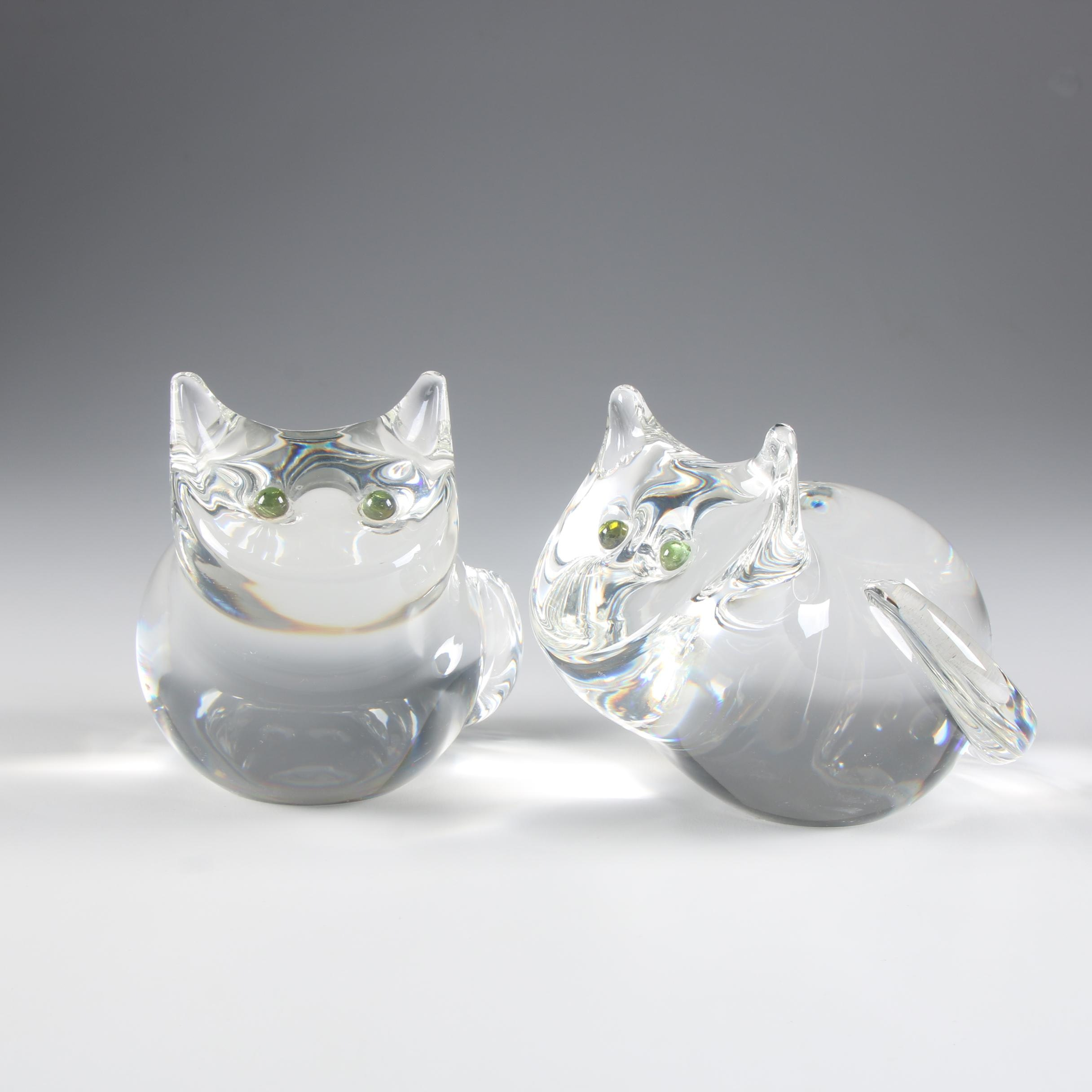 "Steuben Art Glass ""Cat"" Figurines Designed by Donald Pollard, 1973"