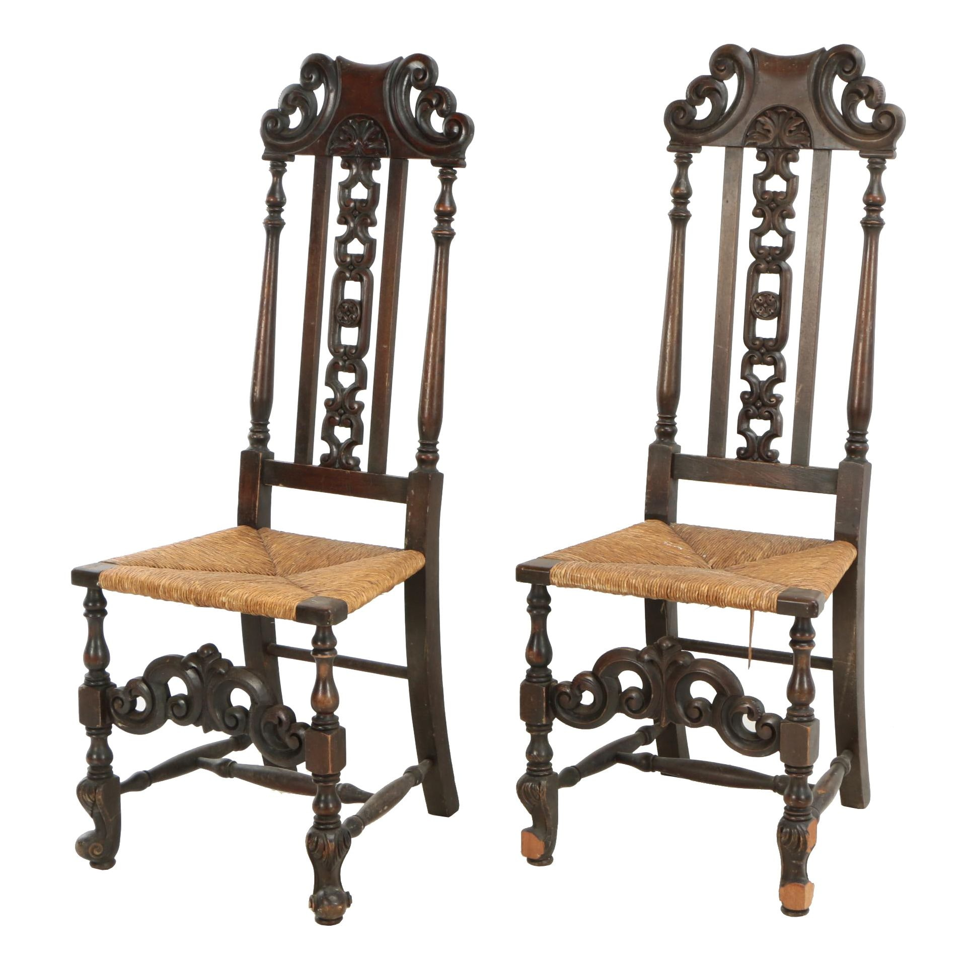 Pair of Jacobean Revival Walnut-Stained Side Chairs with Rushed Seats