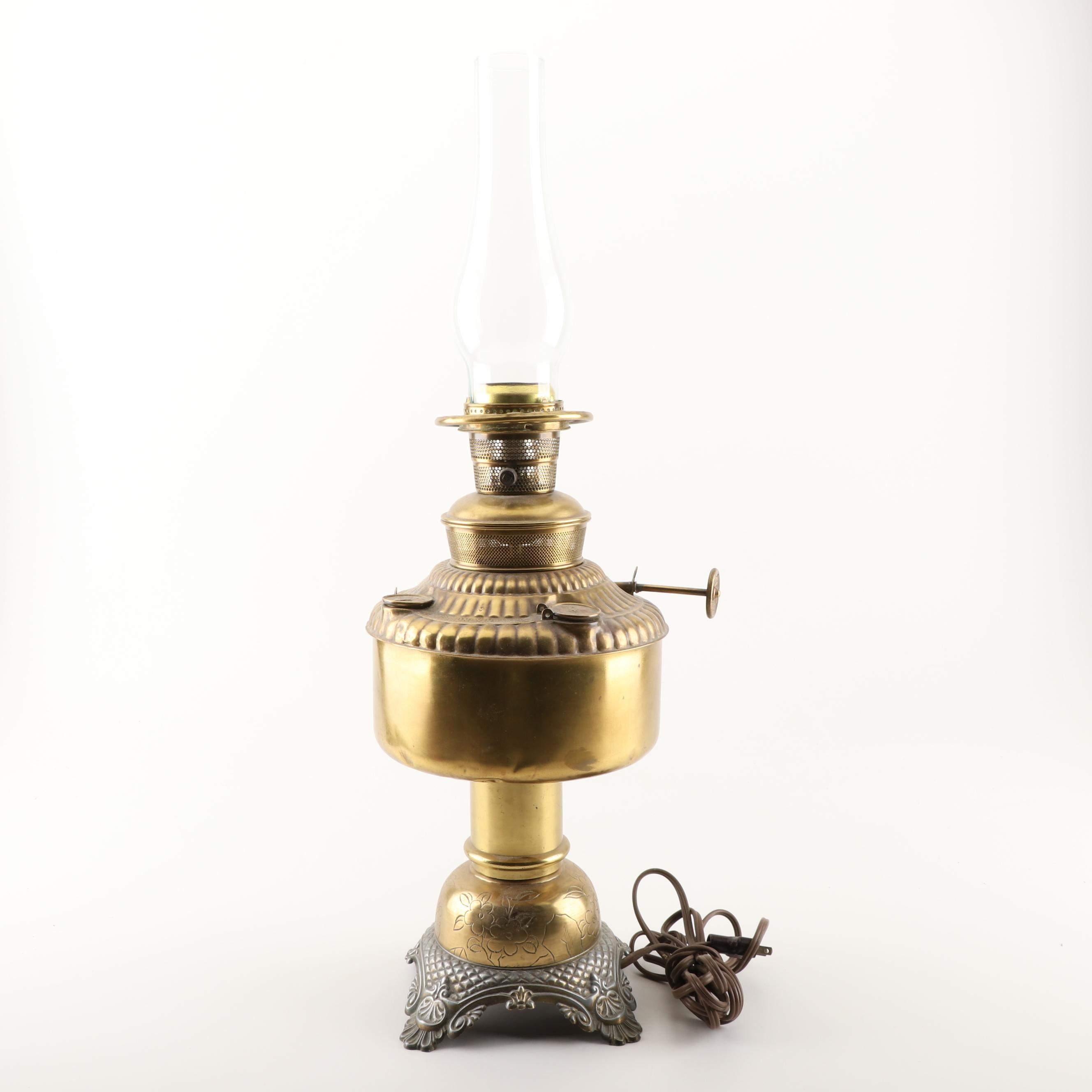 Electrified Brass Kerosene Lamp With B&P Burner, Early 20th Century
