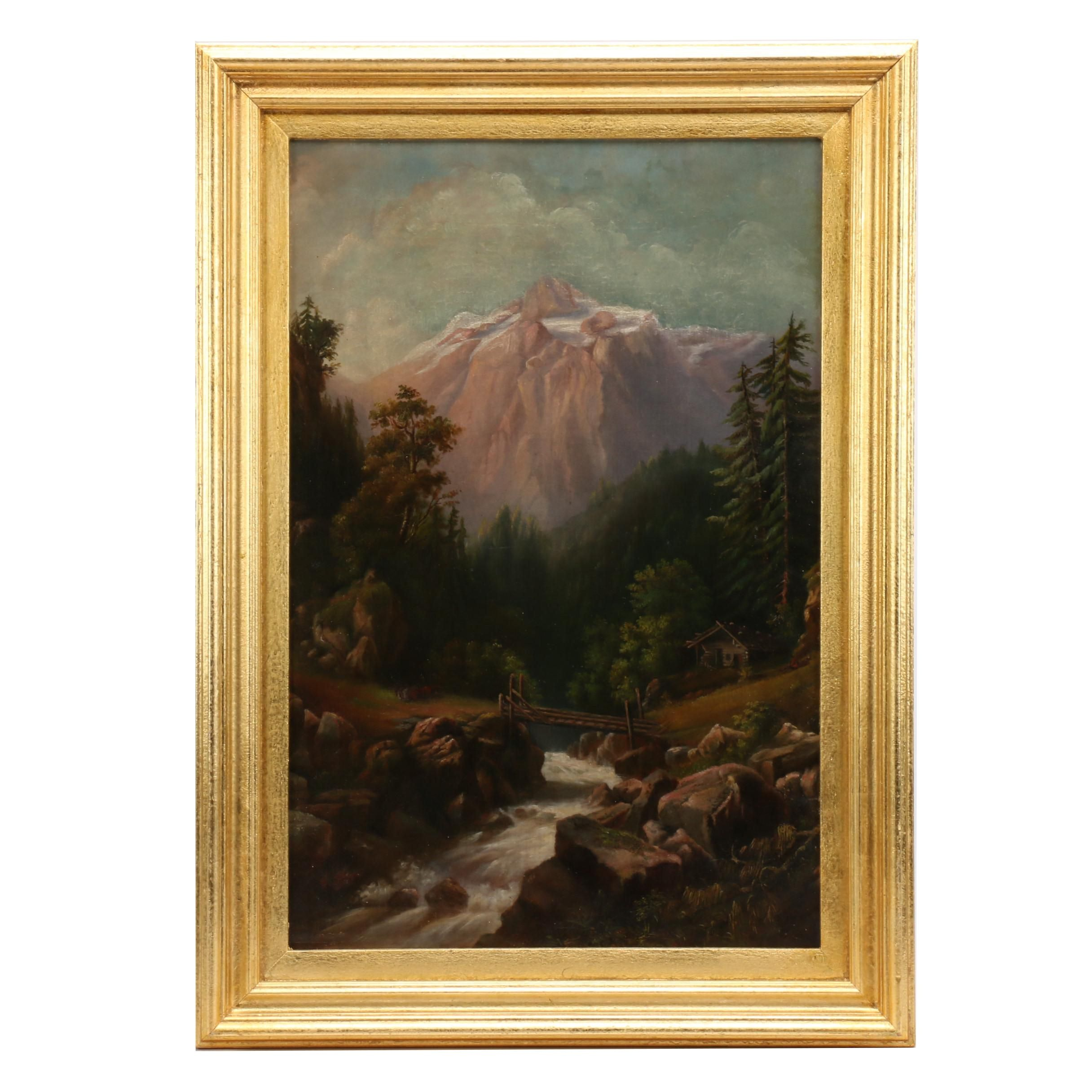 Mid 20th Century Alpine Landscape Oil Painting