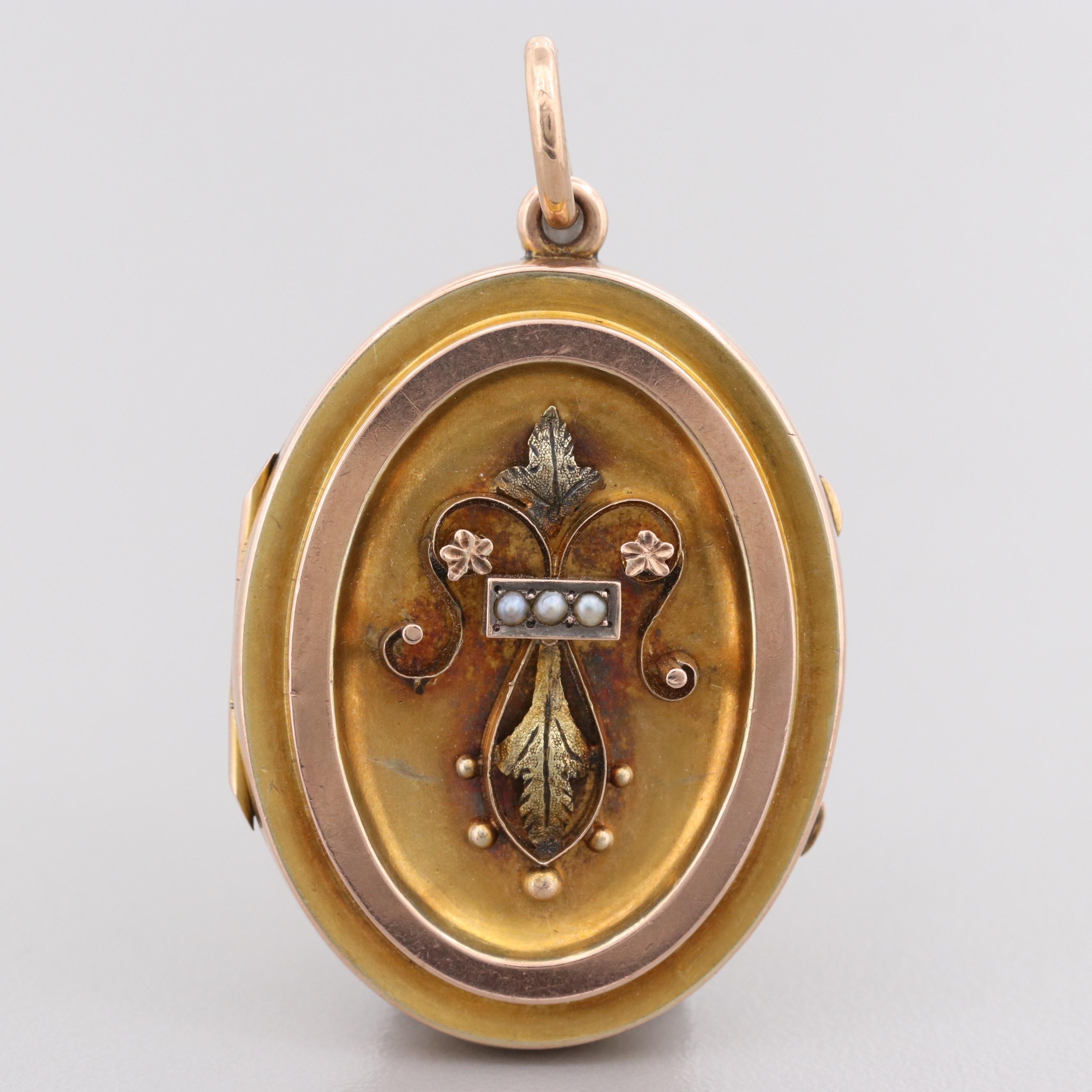 Victorian 9K Yellow Gold Cultured Pearl Locket