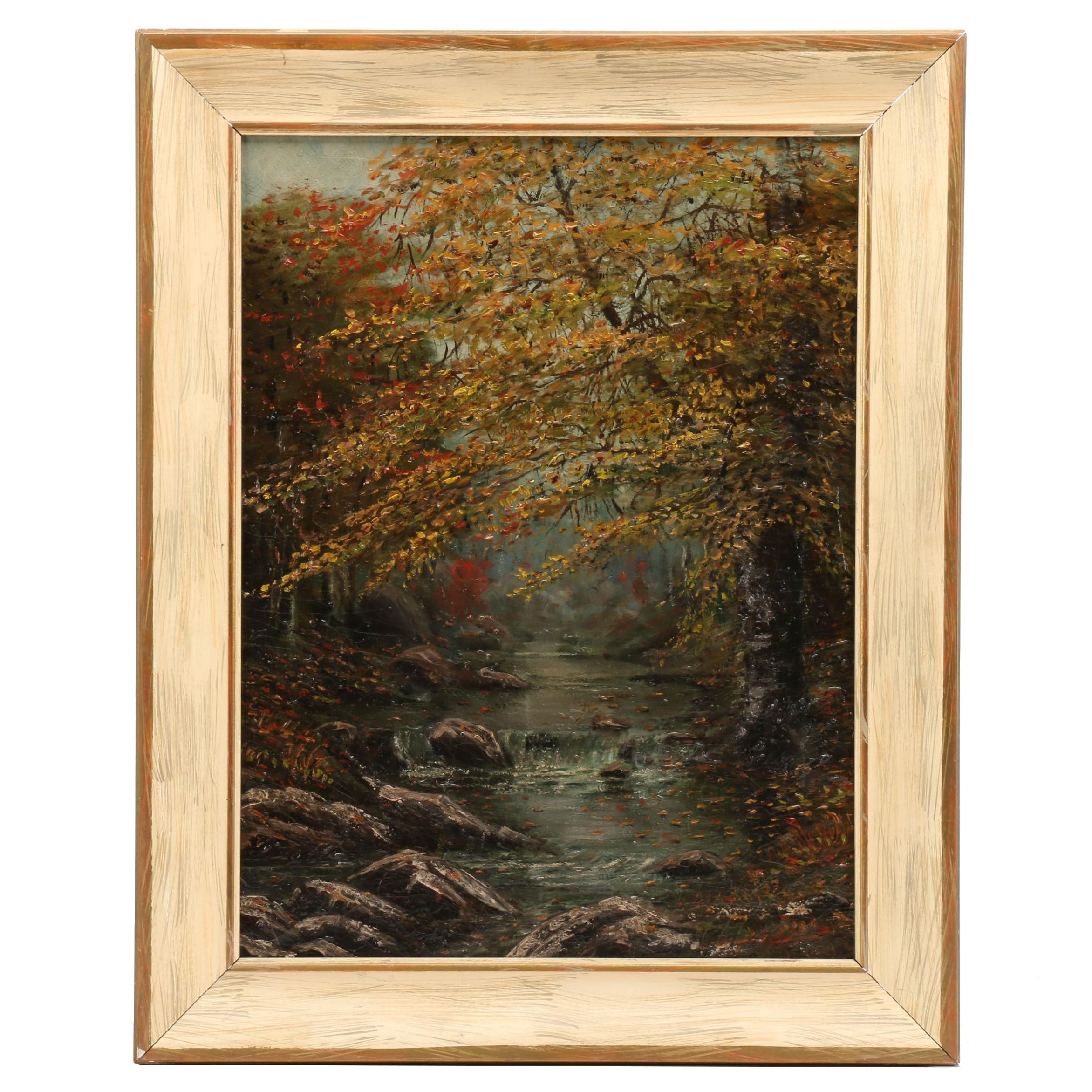 "Attributed to A.A. Van Buren Oil Painting ""Woodland Brook"""