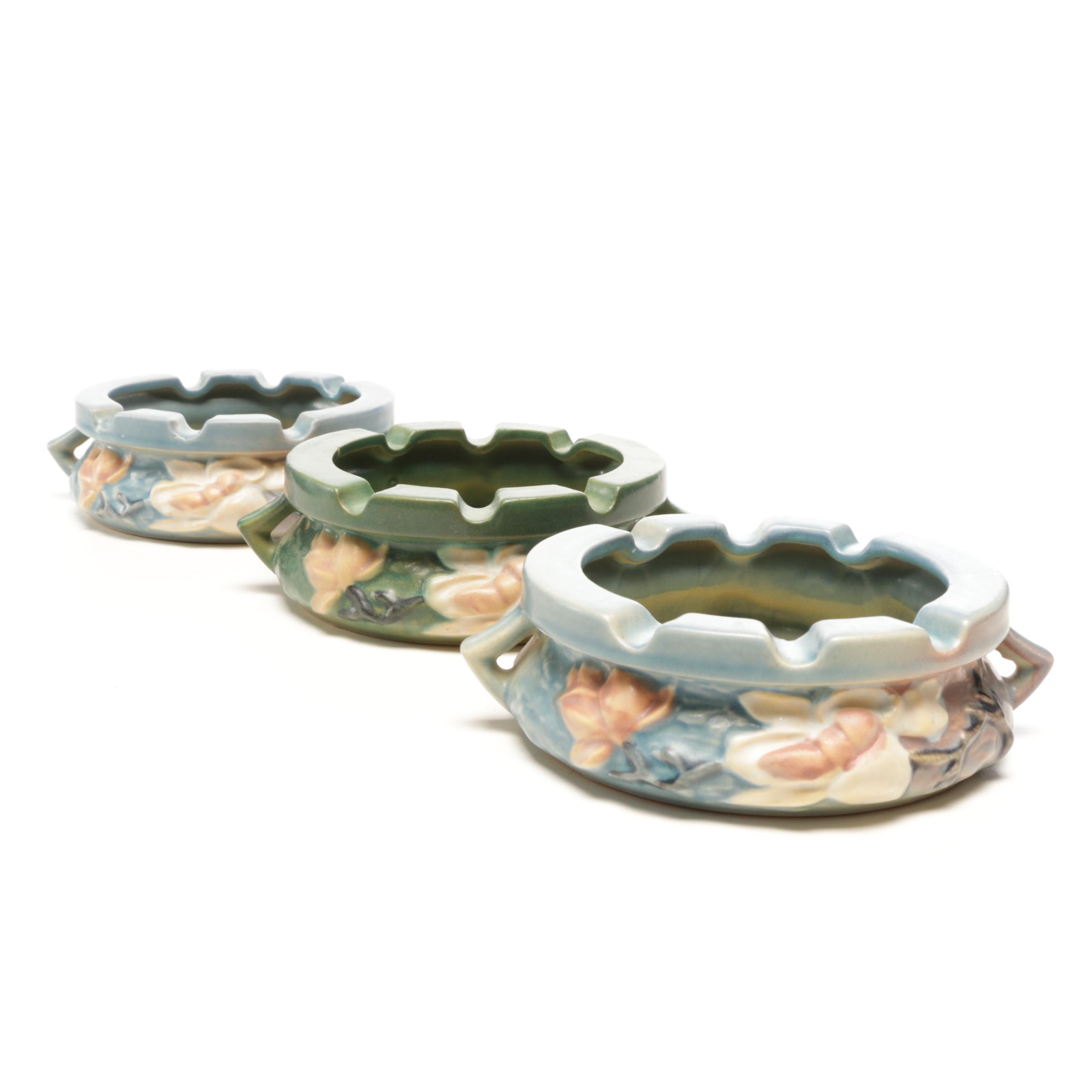 "Roseville Pottery ""Magnolia"" Green and Blue Ash Trays, Mid-Century"