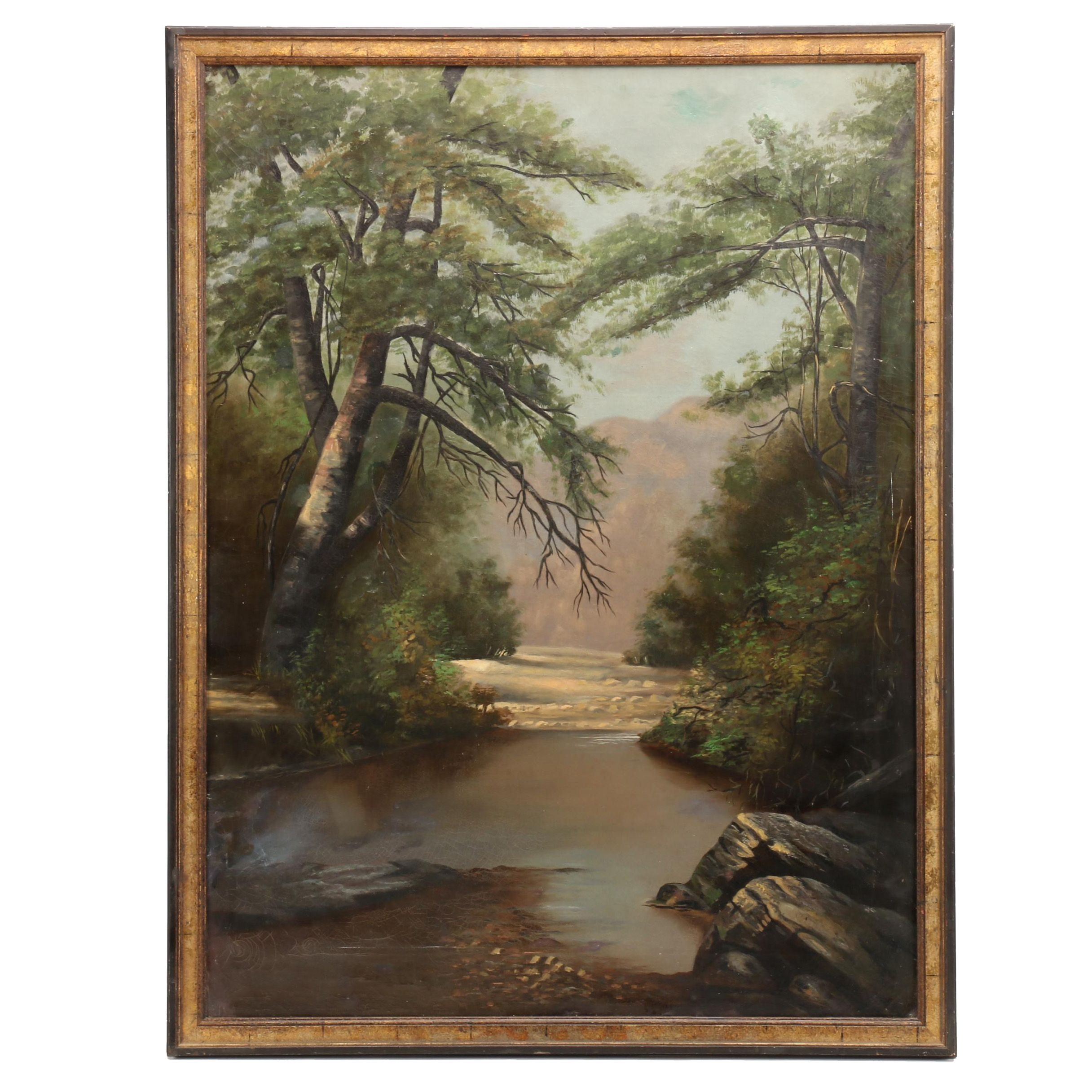 Early 19th Wooded Landscape Oil Painting
